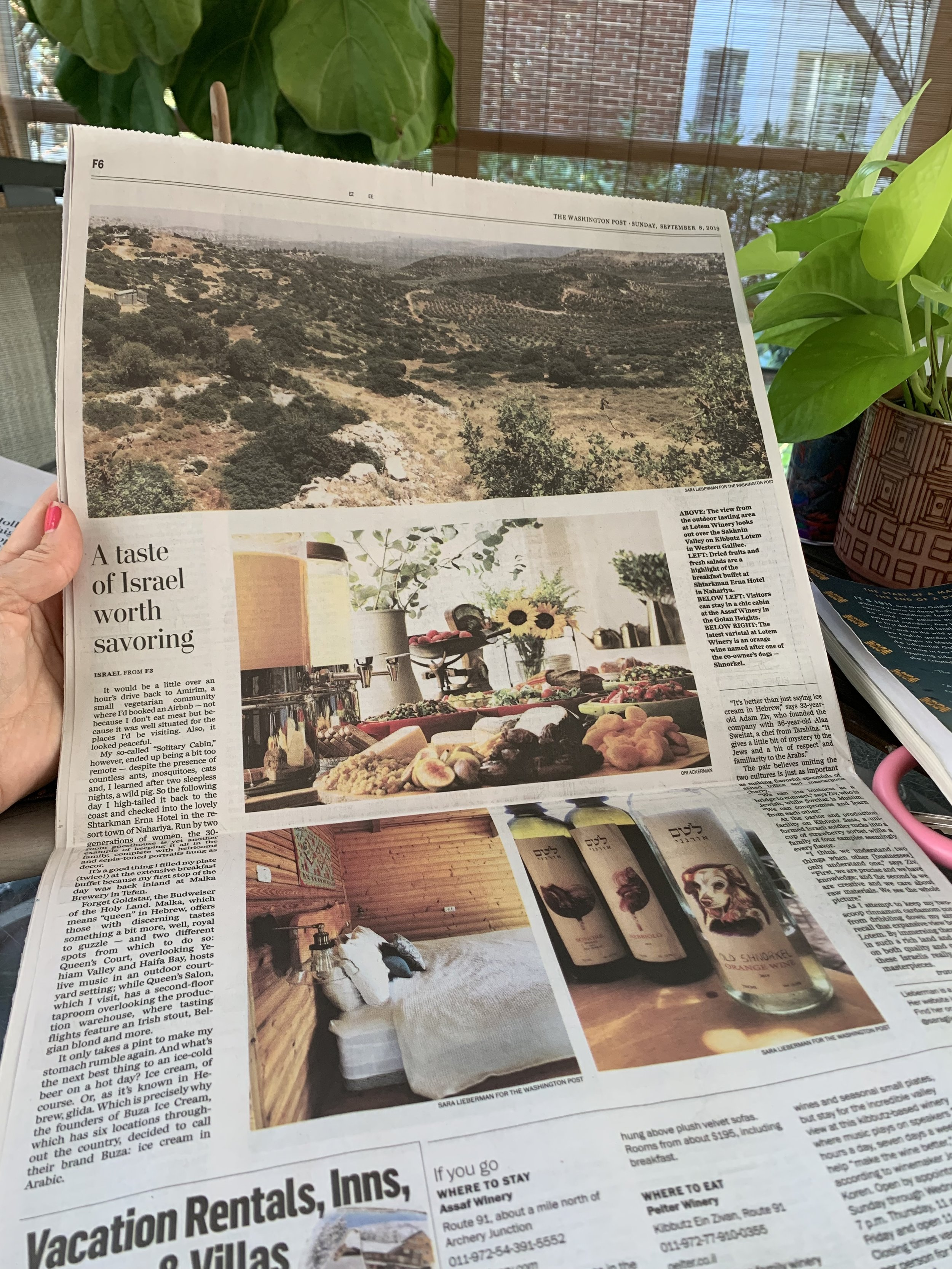 Editorial coverage, like this news article about Israel, in the travel section of  The Washington Post.