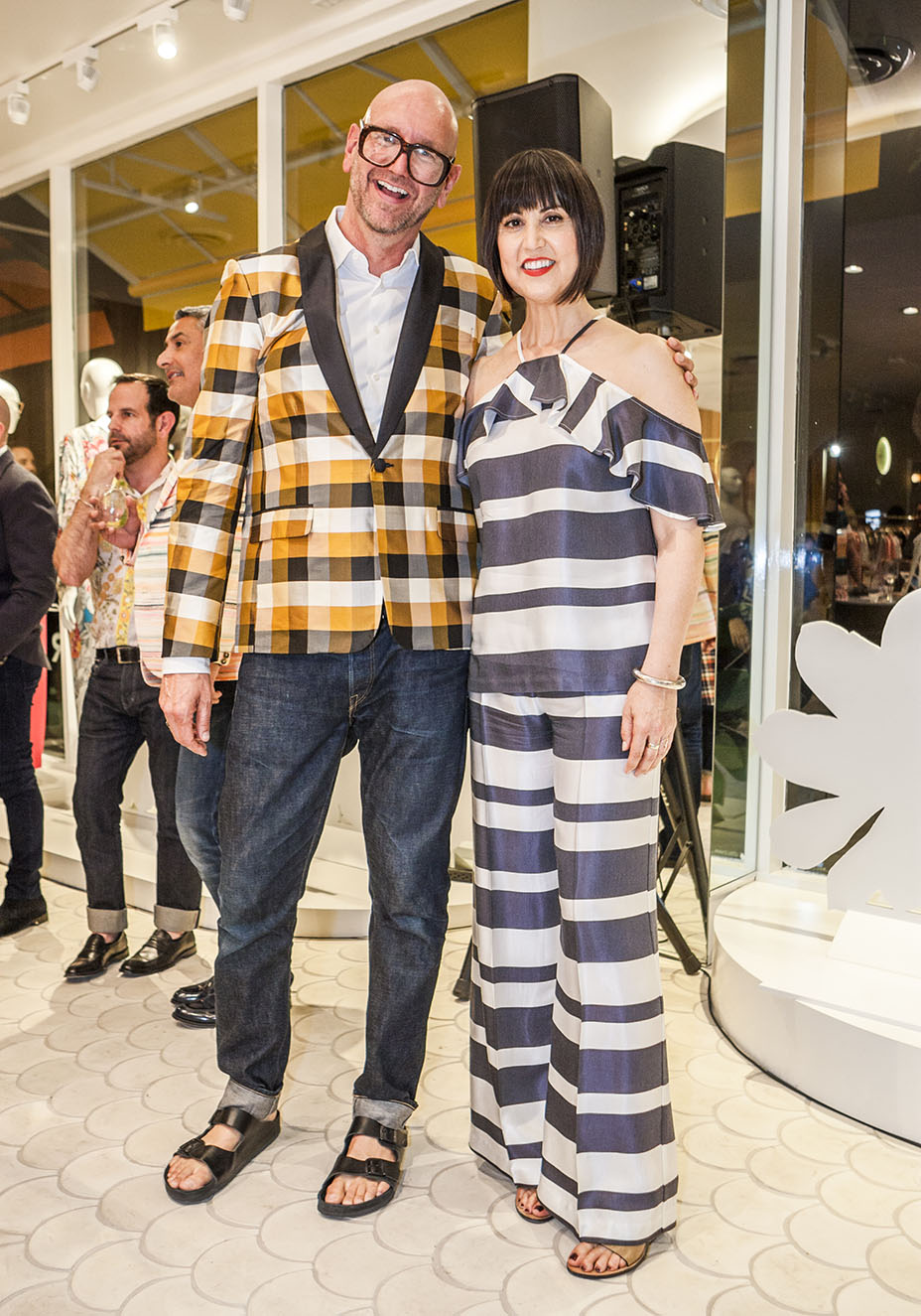 Courtesy of Forest Casey, Trina Turk's store in Larchmont Village Designer Trina Turk and her husband, Mr. Turk designer Jonathan Skow, at the opening of the Larchmont store.