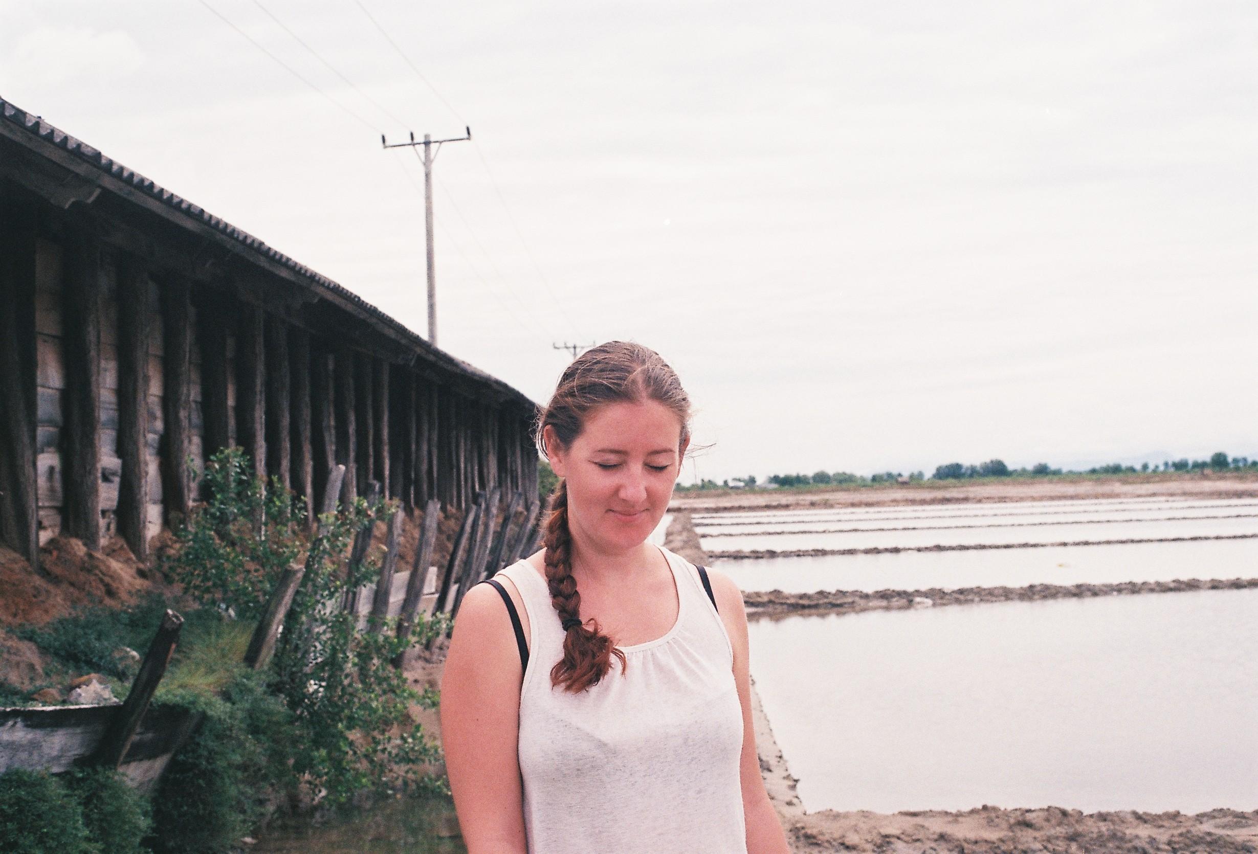 Béné in the salt fields, Kampot, 2017
