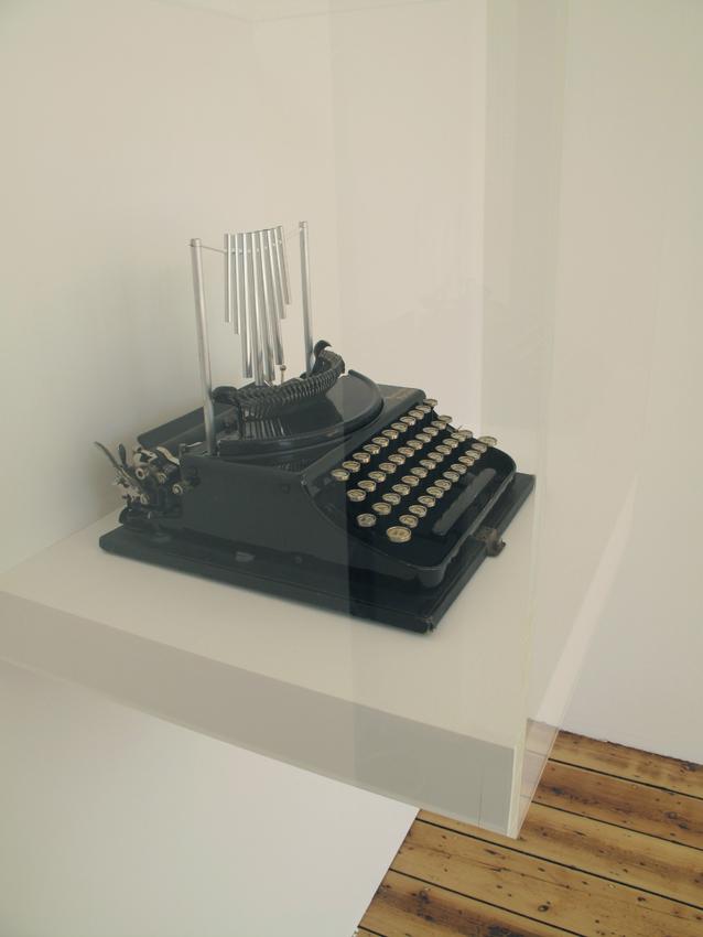 Nothing to say 2010 (Detail)  Typewriter, perspex, soundwork, painting.