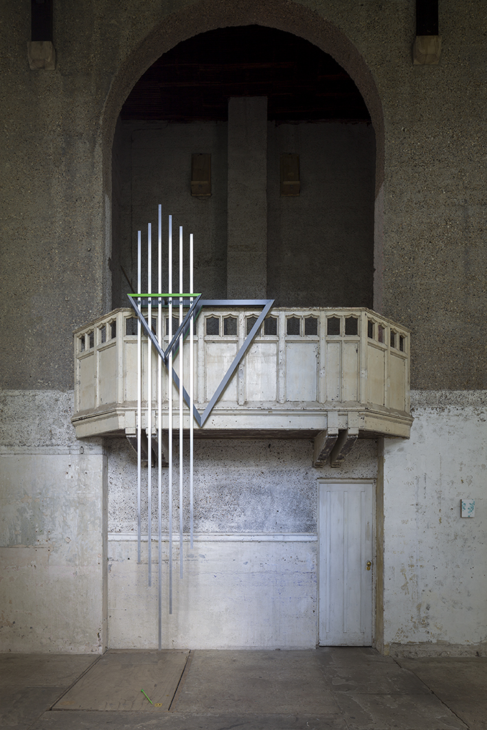 Prime 2015.  Welded powder coated aluminium and mixed media and sound work composed by Isha Bohling. 13 minutes, looped.Sculpture created through collaboration with Ian Monroe, for a site specific project ' Between Thought and Space' Dilston Grove London.