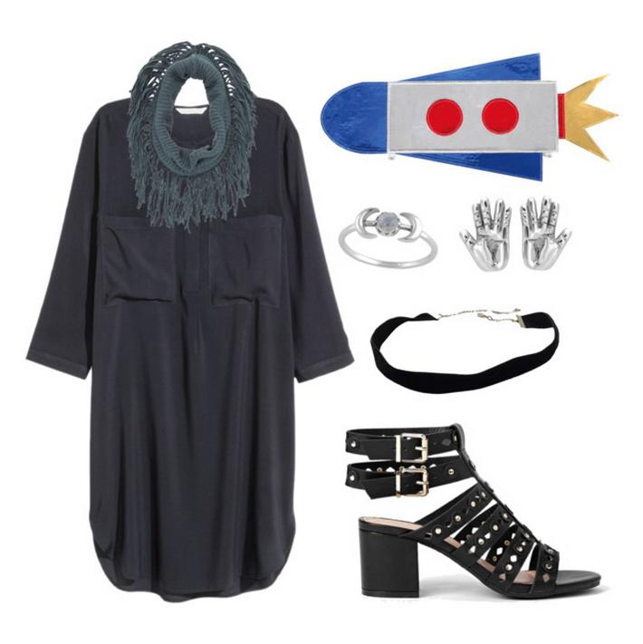 Dress  |  Rocket clutch  |  Ring  |  Earrings  |  CHoker  |  Scarf  |  Sandals