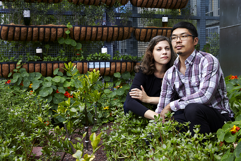 Co-founders Karen and Anthony in The Perennial's roof garden, doing their best to look daring for Condé Nast.