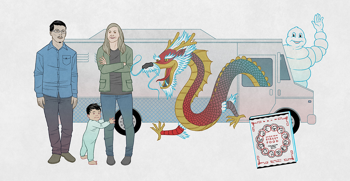 Co-founders Anthony and Karen illustrated by Jon Adams for the Asian Art Museum TAKEOVER Aug 4.