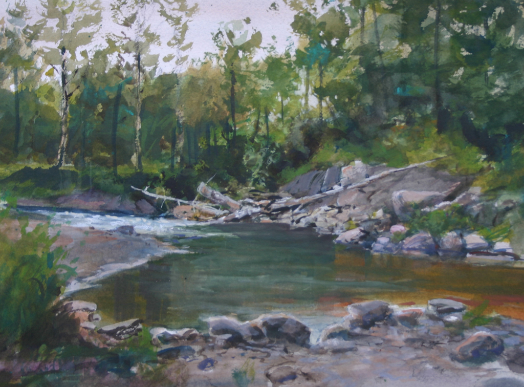 Anchor River Pool 10 x 14 Watercolor