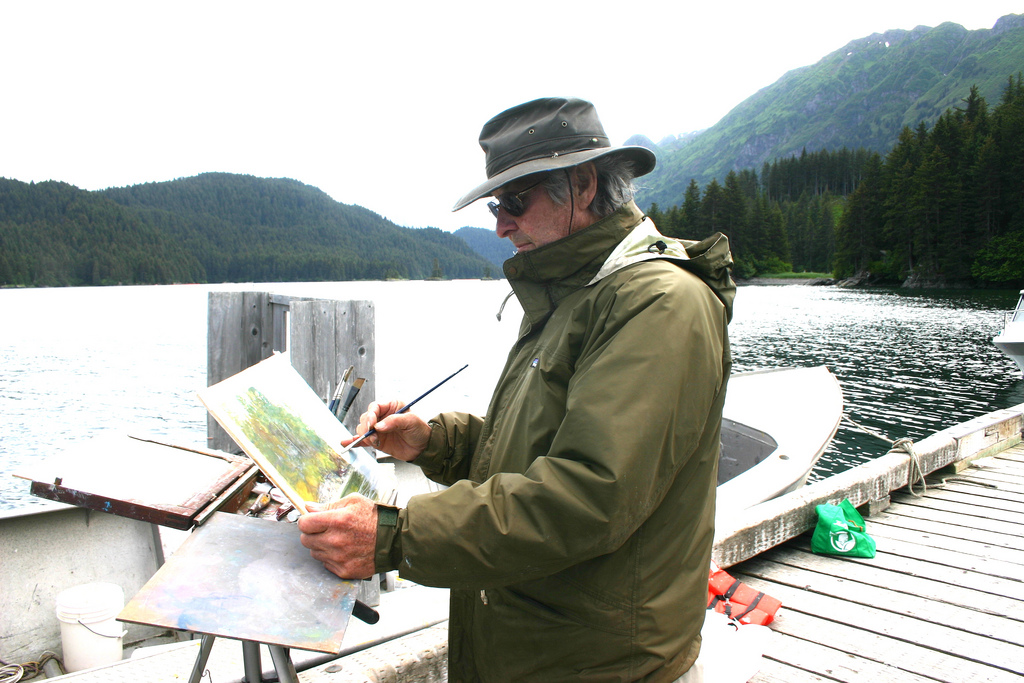 Painting in kachemak bay, alaska