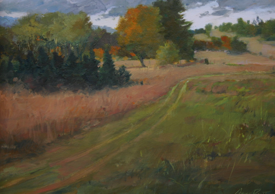 meadow trail 12 x 16 oil on masonite