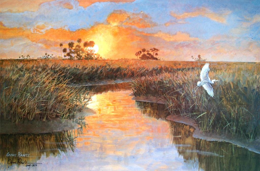 gulf sunset 13 x 19.5 litho limited edition print