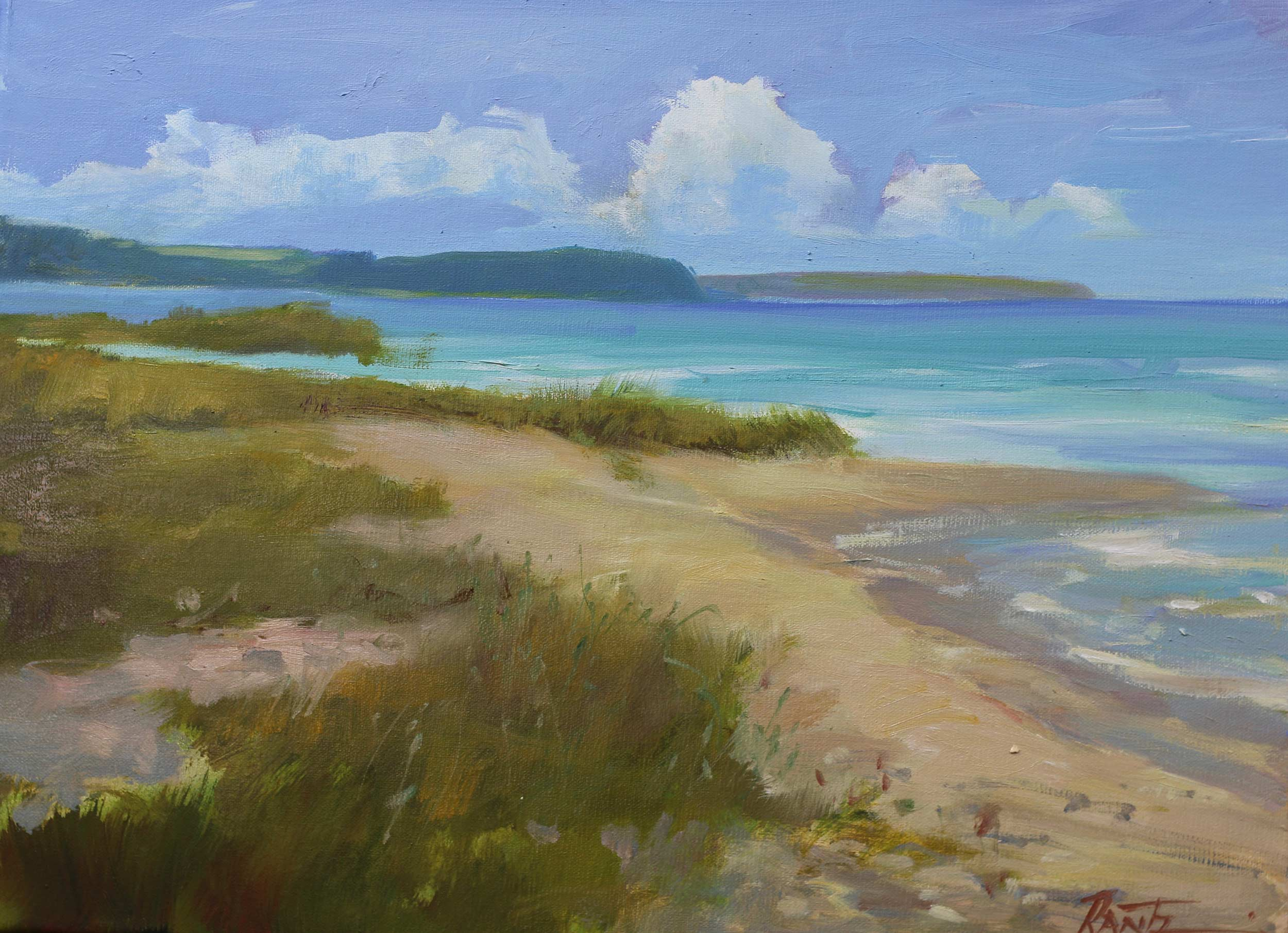 Gills Pier Beach 12 x 16 Oil - Available At Bier Gallery, Charlevoix