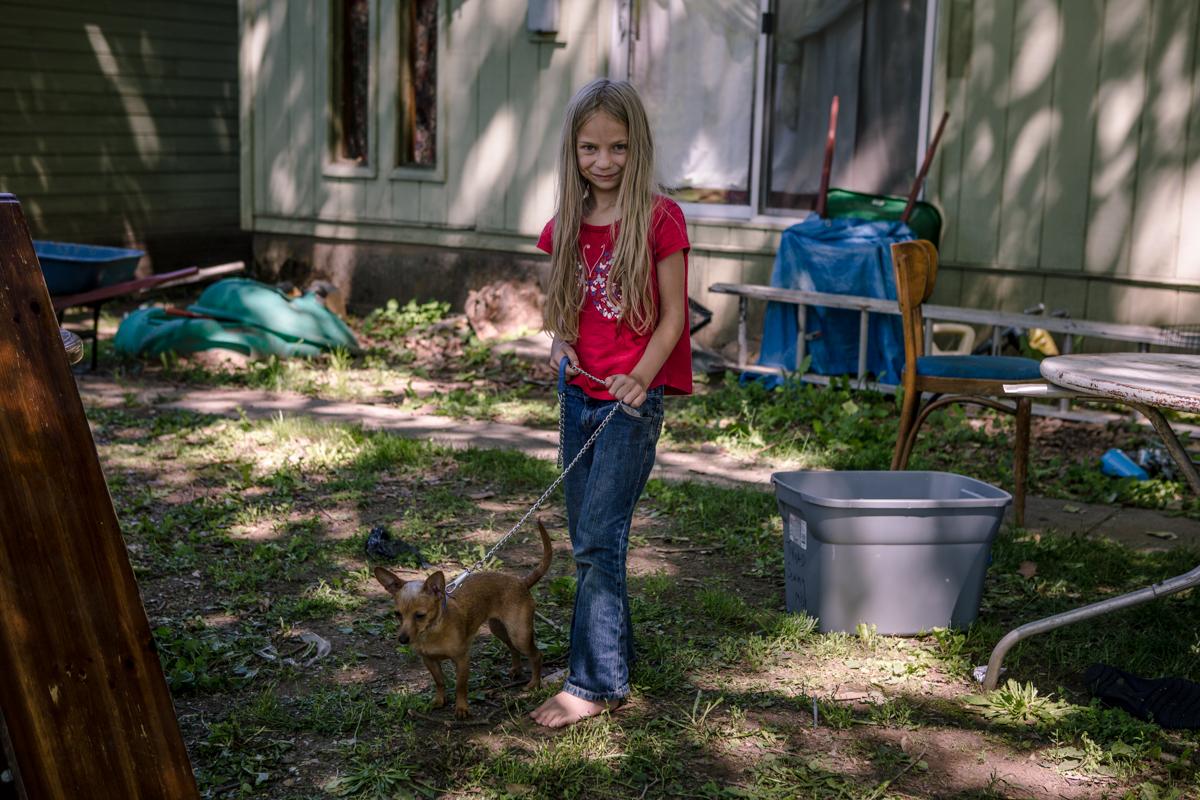 young girl & dog Kooskia, Idaho