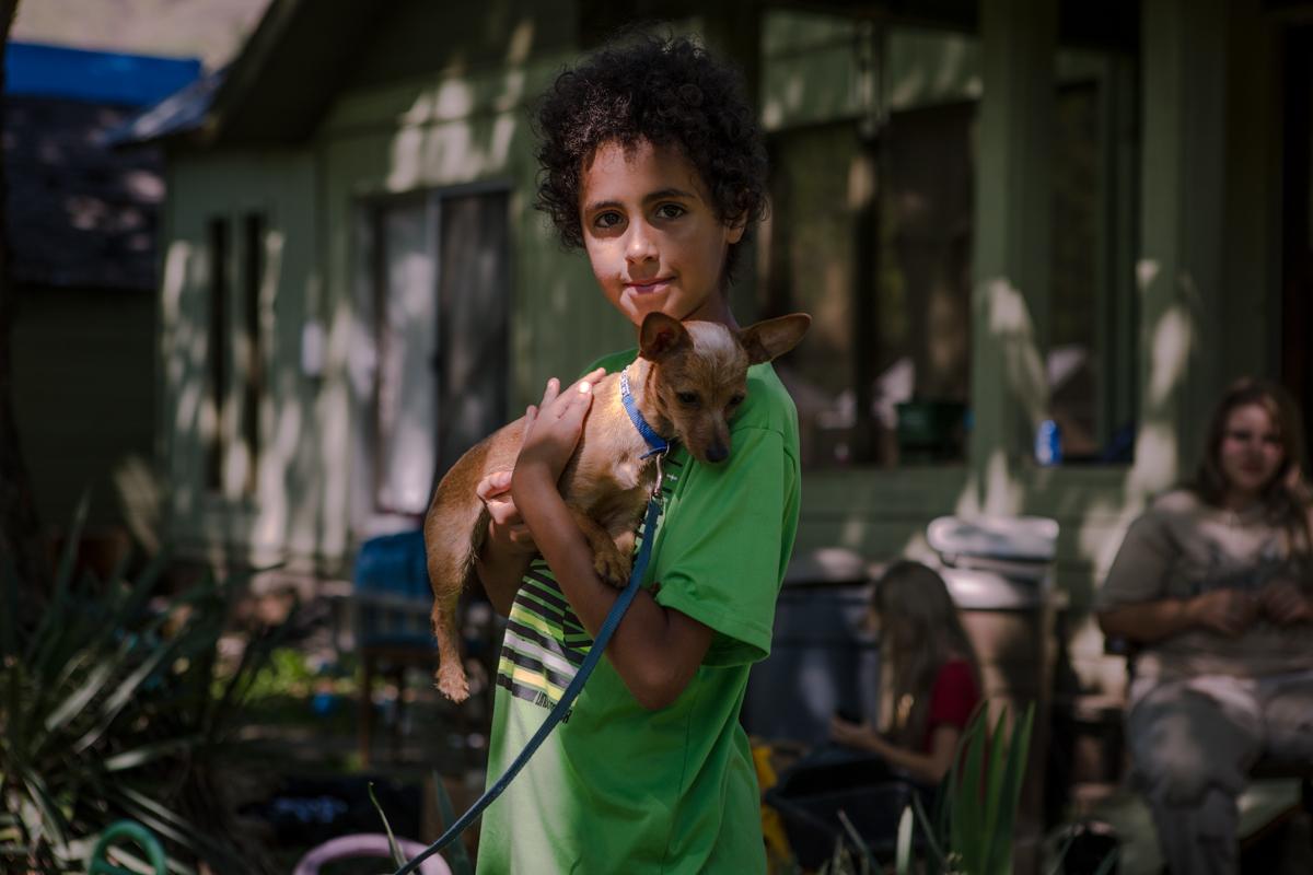 young boy & dog, Kooskia, Idaho