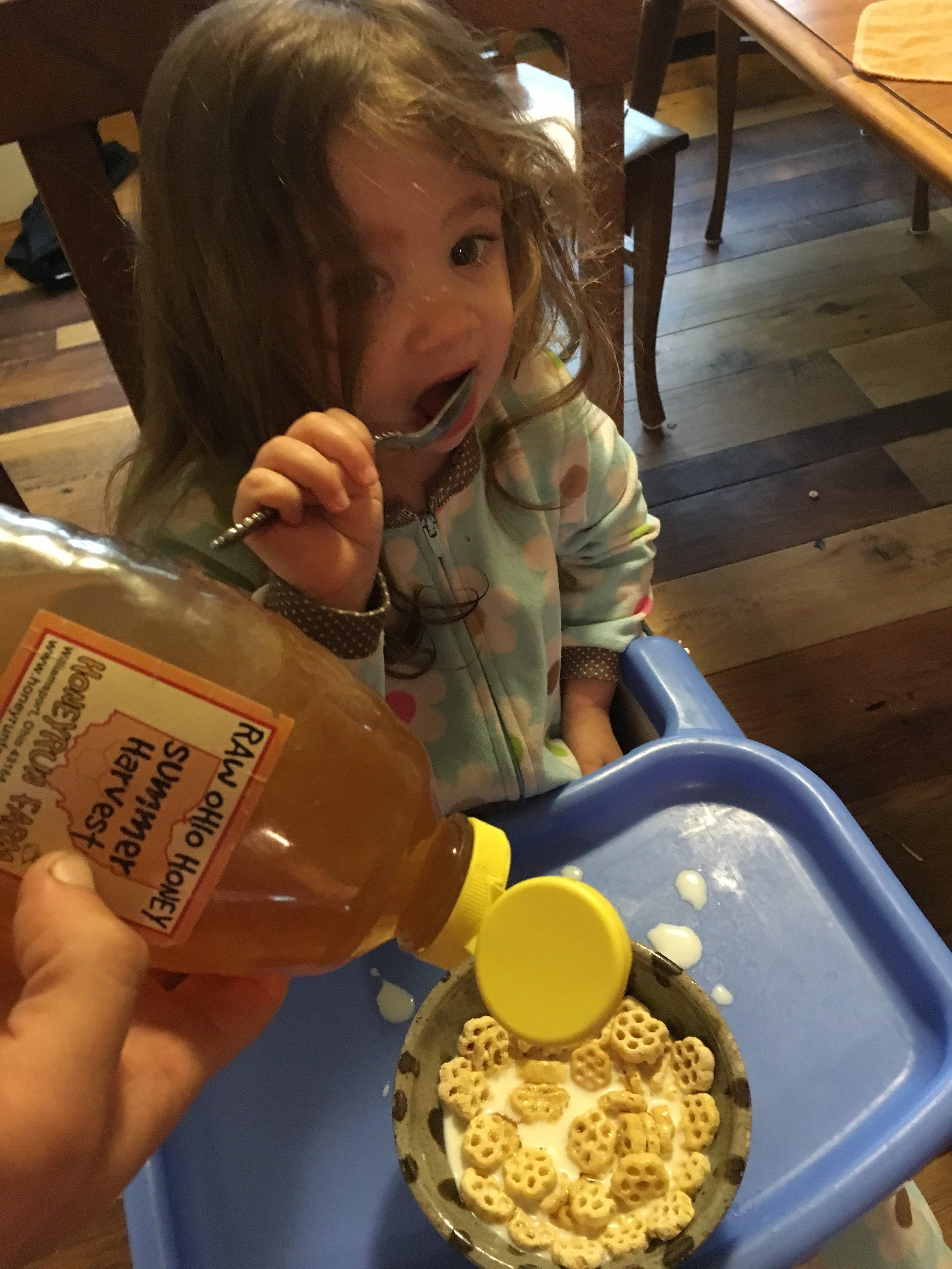We like to put real honey on fake honey.  Needs it!