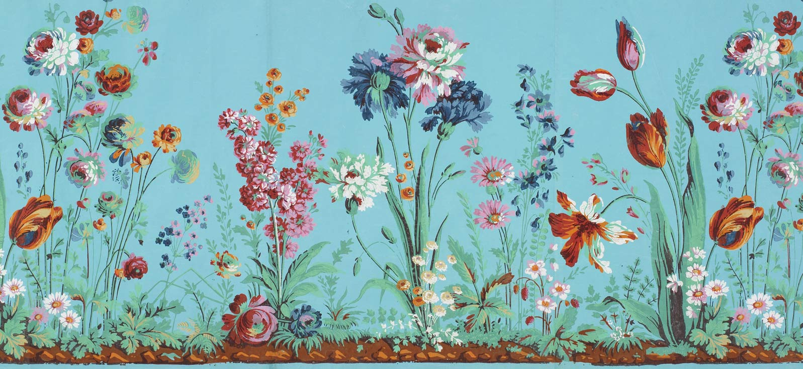 Floral Patterned Wallpaper, late 18th century, JB Reveillon Hand Block Printing