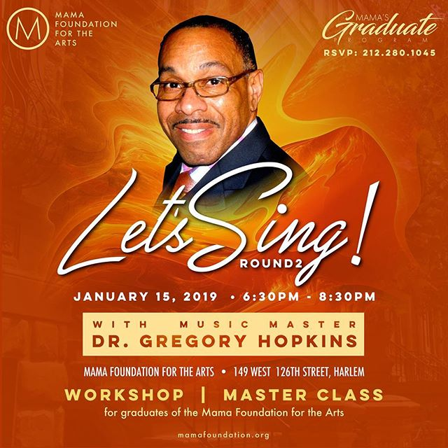 If you are a graduate of the @gospelforteens  program, round 2 is gearing up! This time we have #MusicMaster #GregoryHopkins! We had such an amazing time last time, that we just had to do it again! — make sure you call 212.280.1045 to RSVP AND #LetsSing!