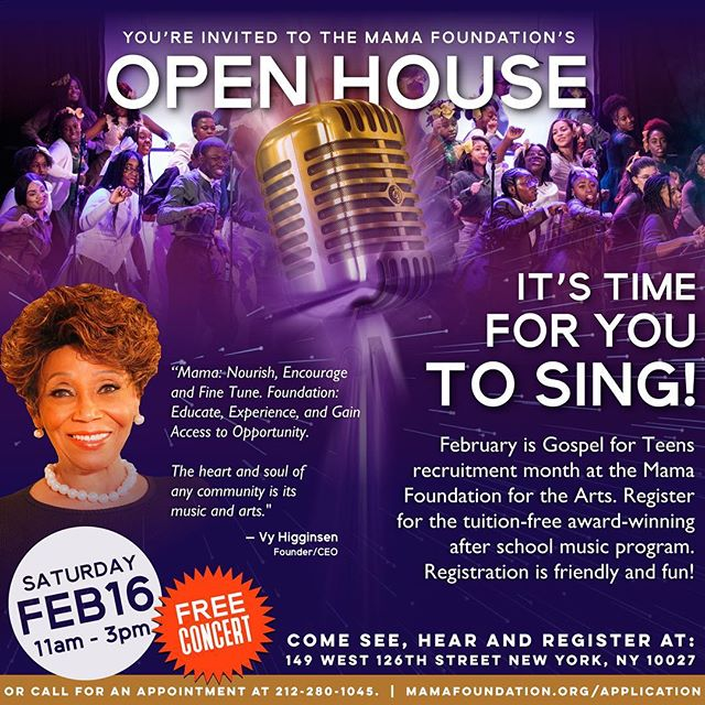 COME TO OUR OPEN HOUSE and FREE CONCERT! If you know a young person from the ages of 11-19 bring them our way!!
