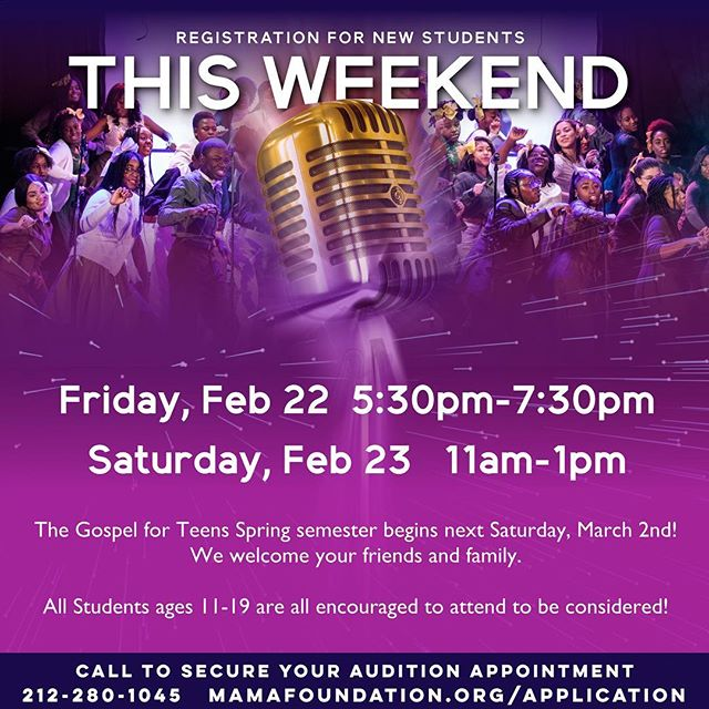 If you know anyone who still wants to audition let them come and this weekend!!!