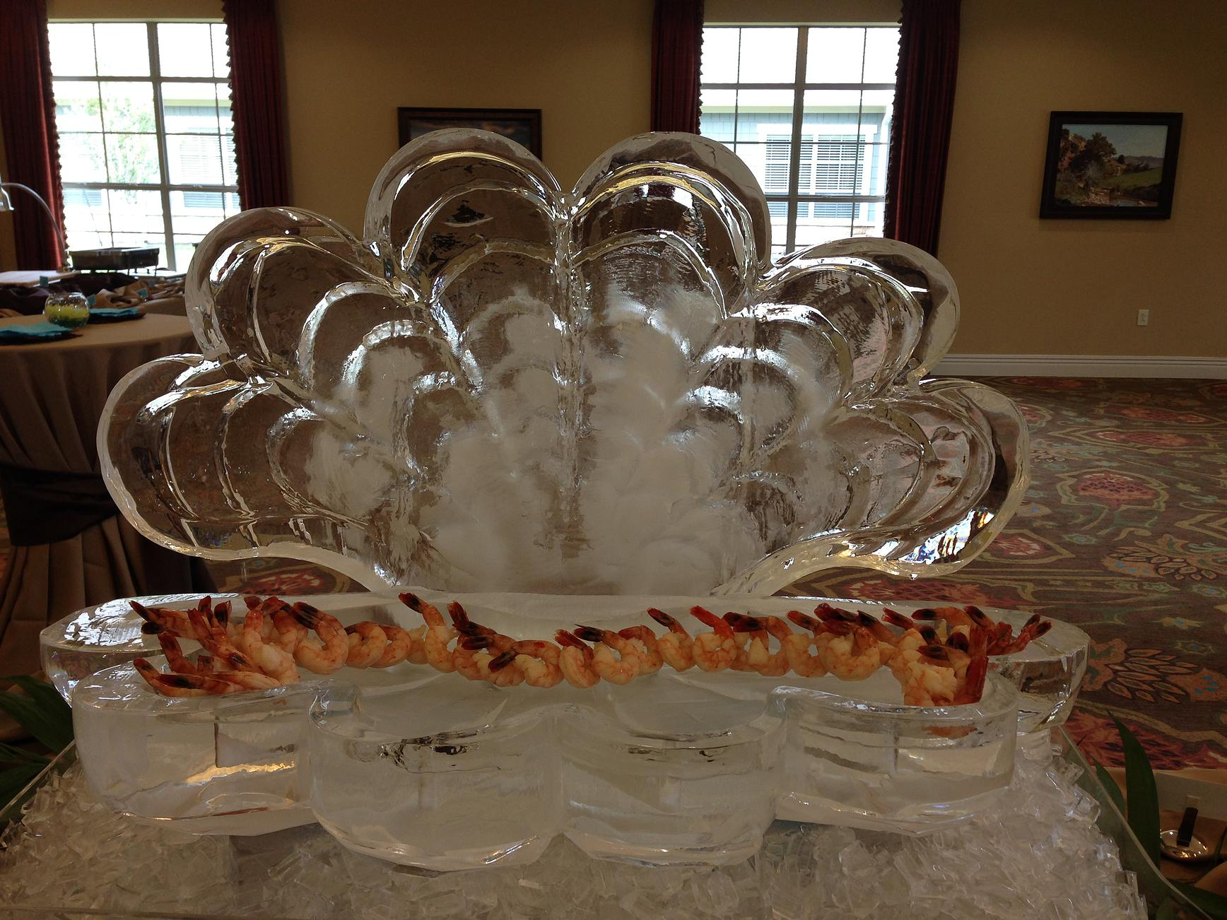 Clam shell ice sculpture