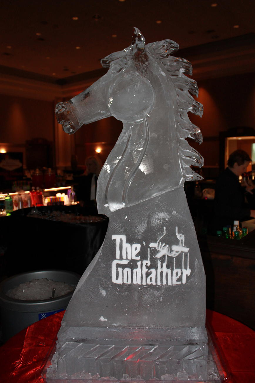 Godfather horse head ice sculpture