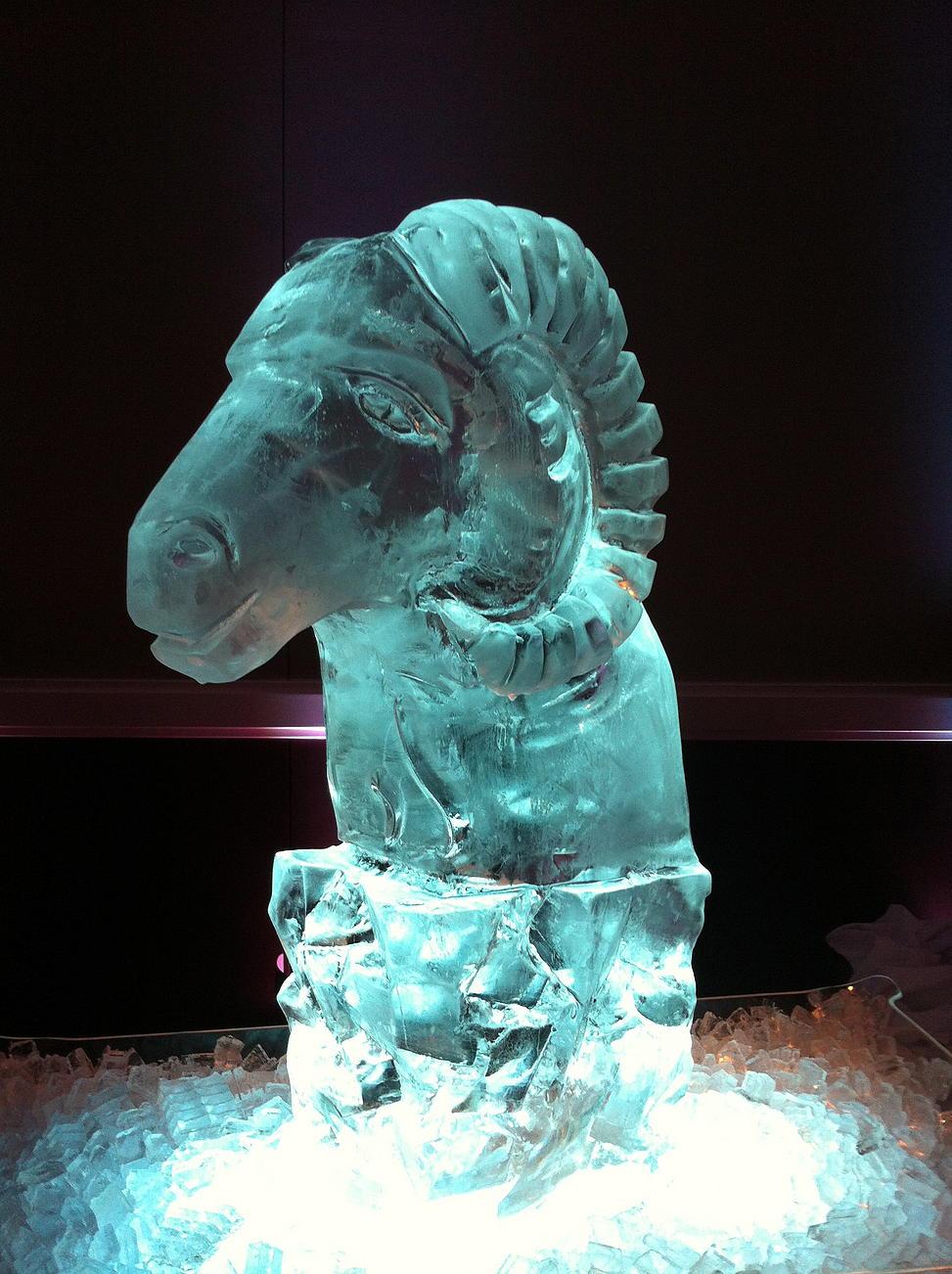 Ram head ice sculpture