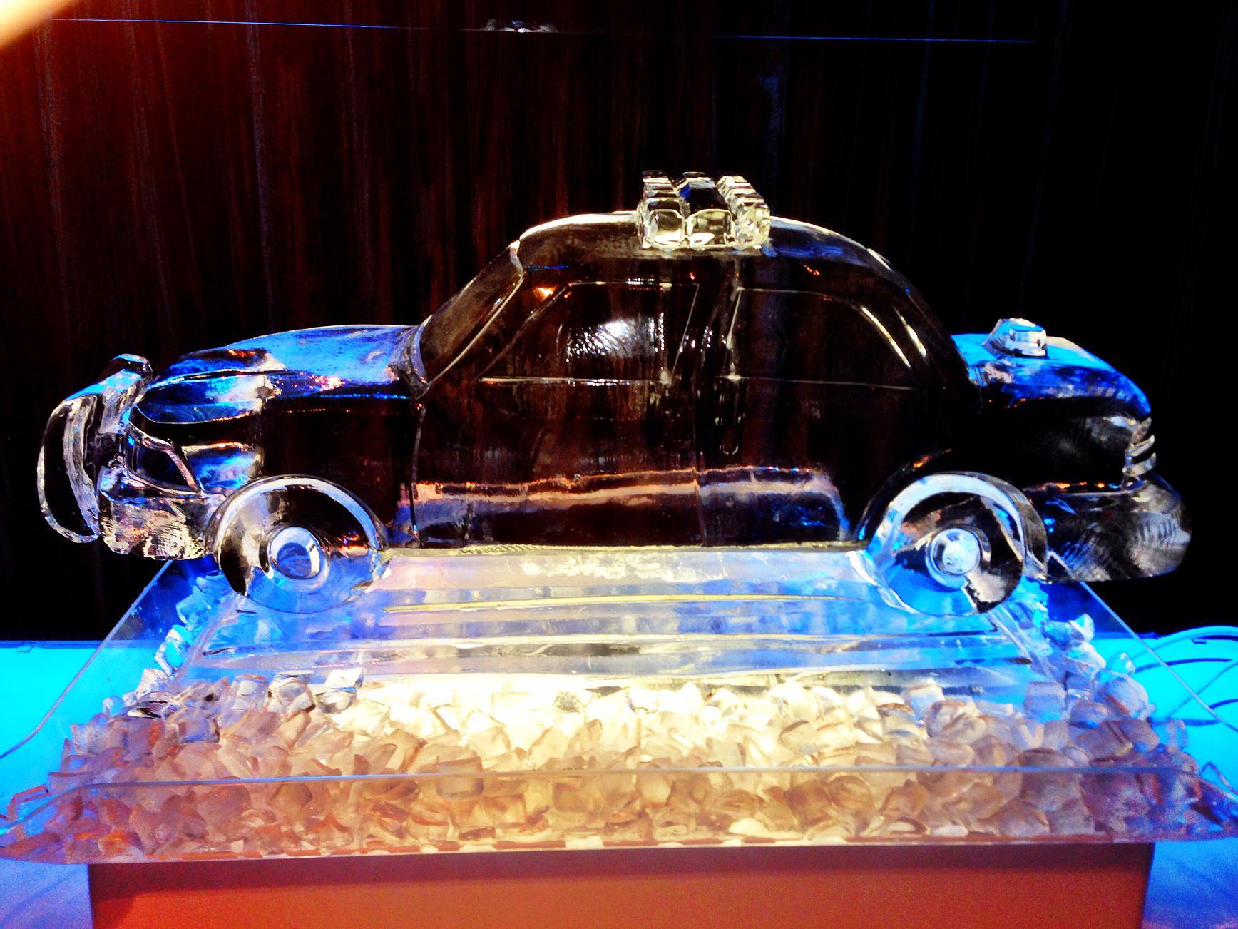 Cop car ice sculpture