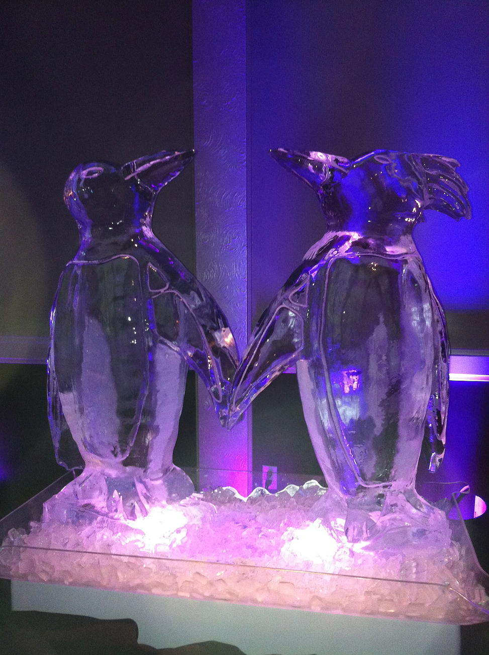 Bride and groom penguins ice sculpture