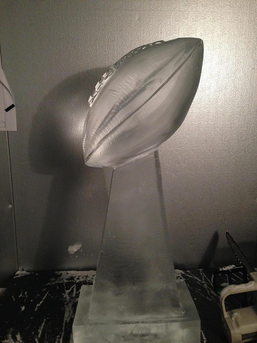 Lombardi trophy ice sculpture