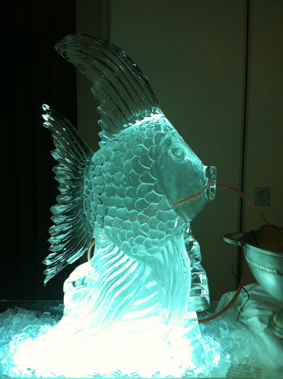 Angel fish ice sculpture