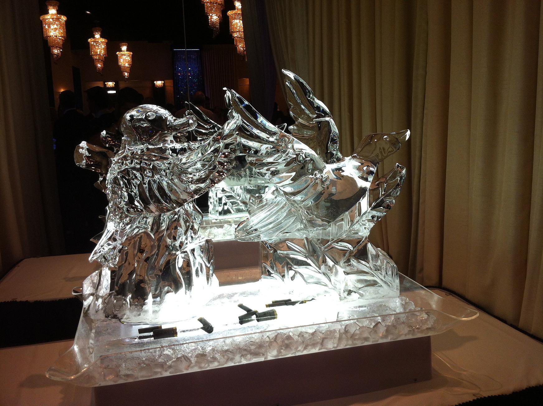 Ducks ice sculpture