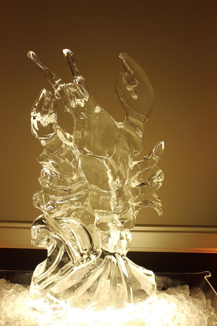 Lobster ice sculpture