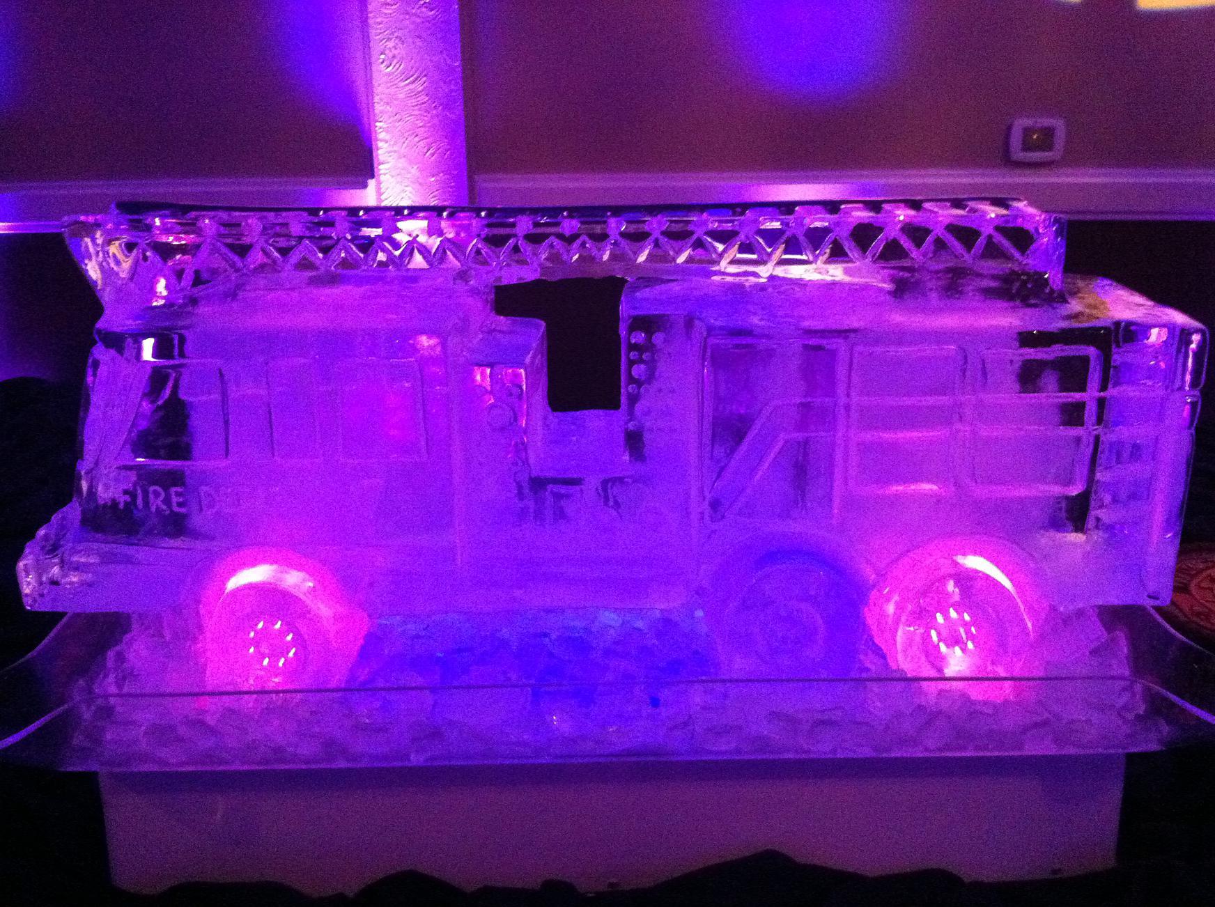 Fire truck ice sculpture