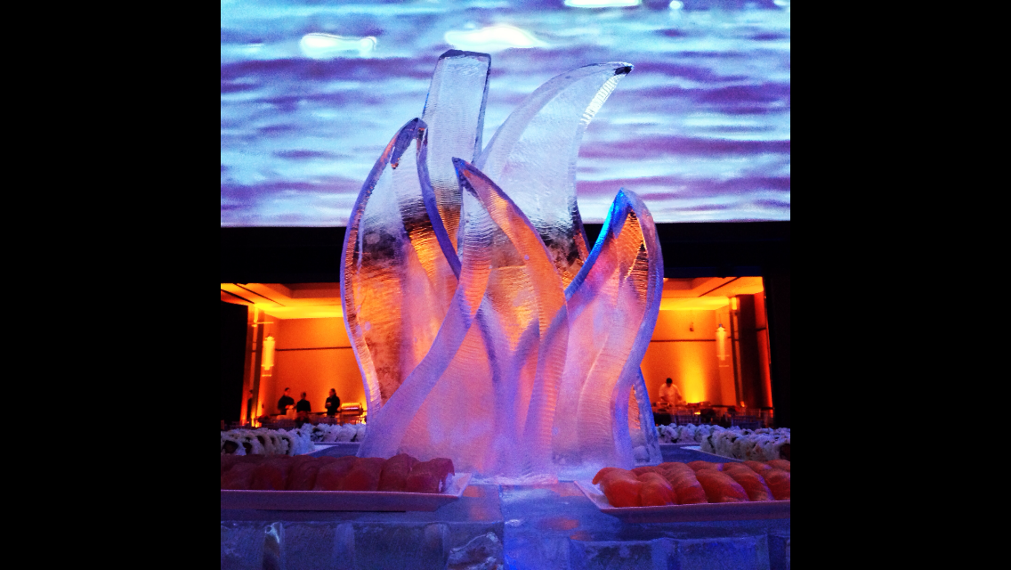 Abstract centerpiece in ice
