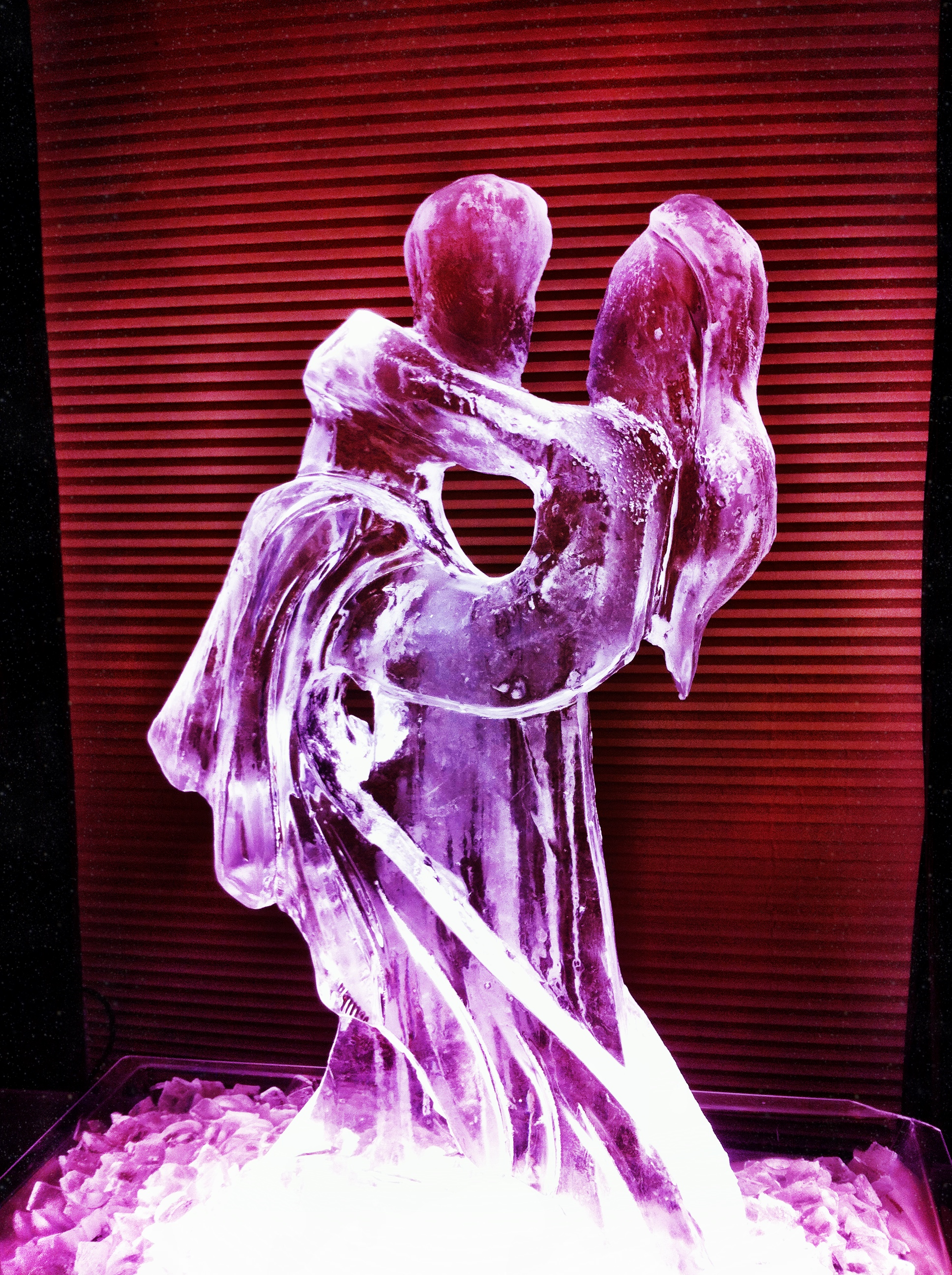 Abstract bride and groom ice