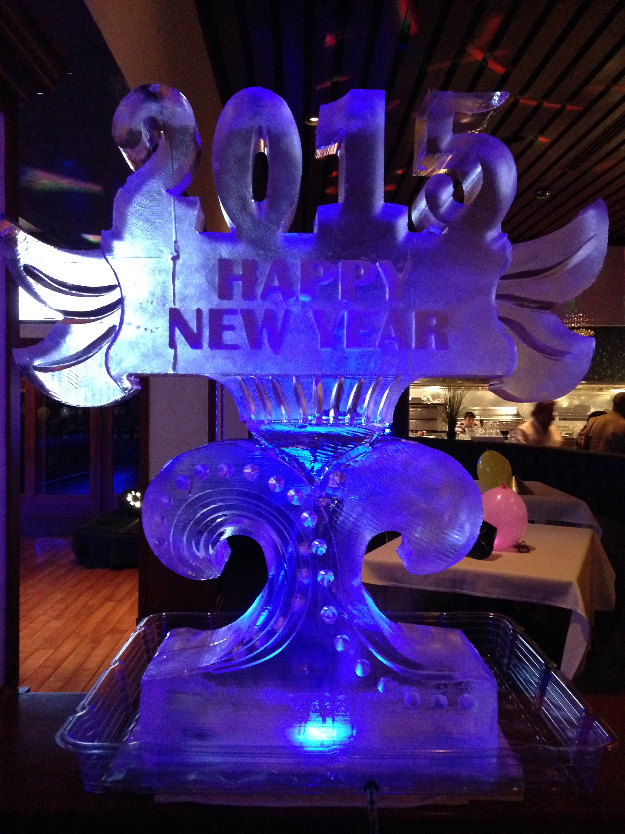Happy new year ice sculpture