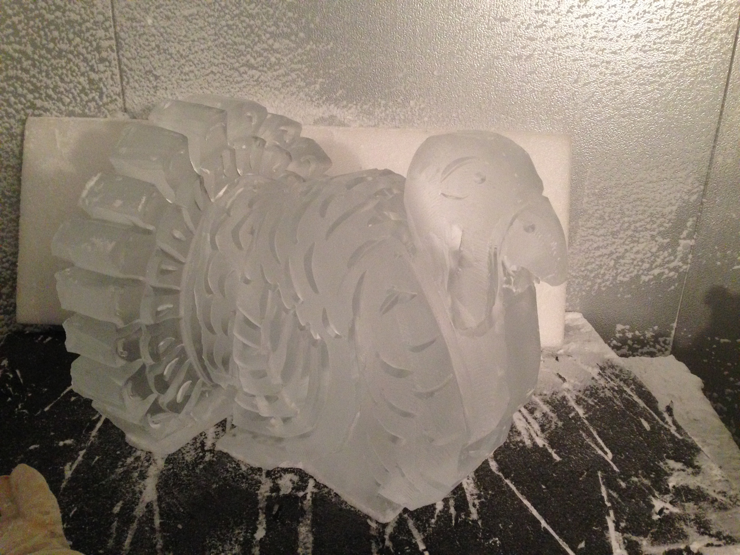 Thanksgiving turkey ice sculpture