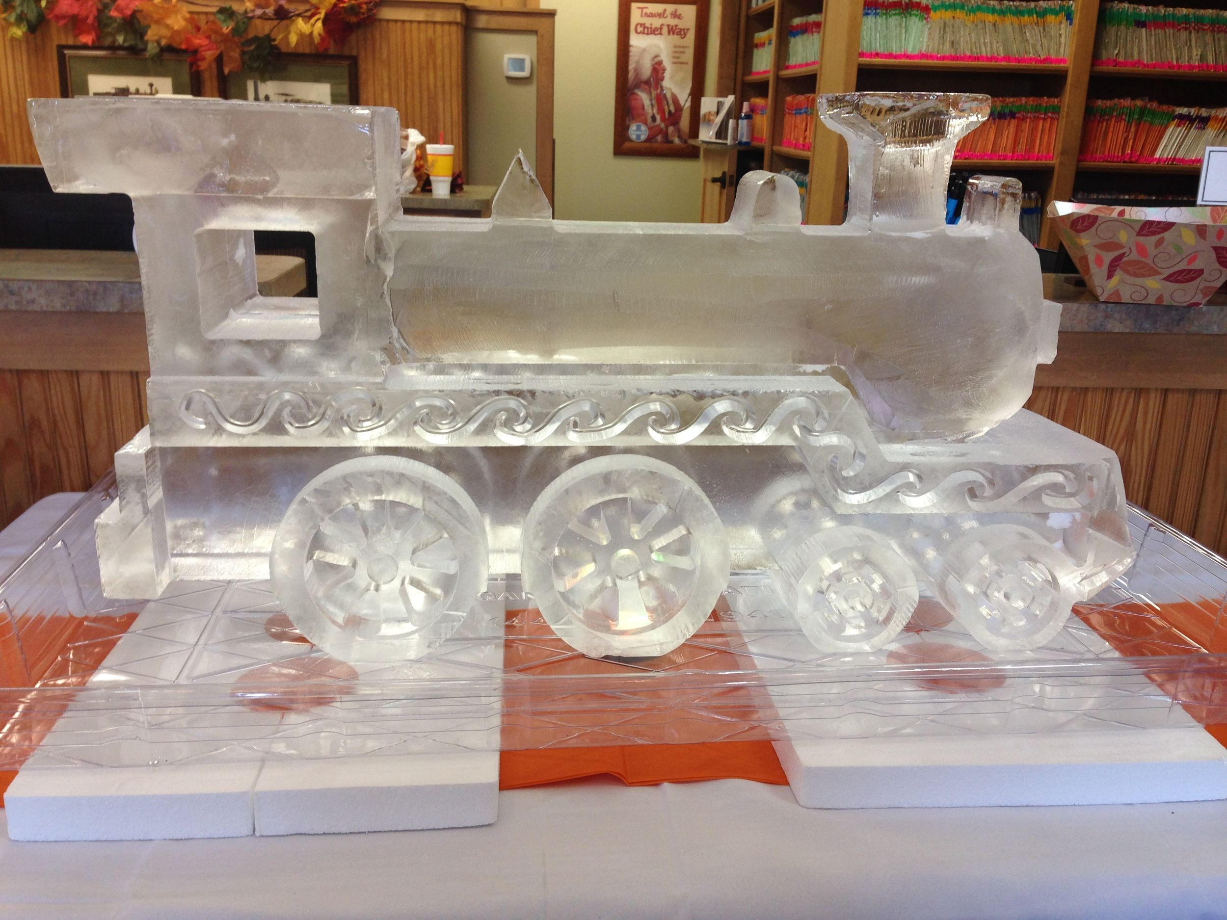 Christmas train ice sculpture