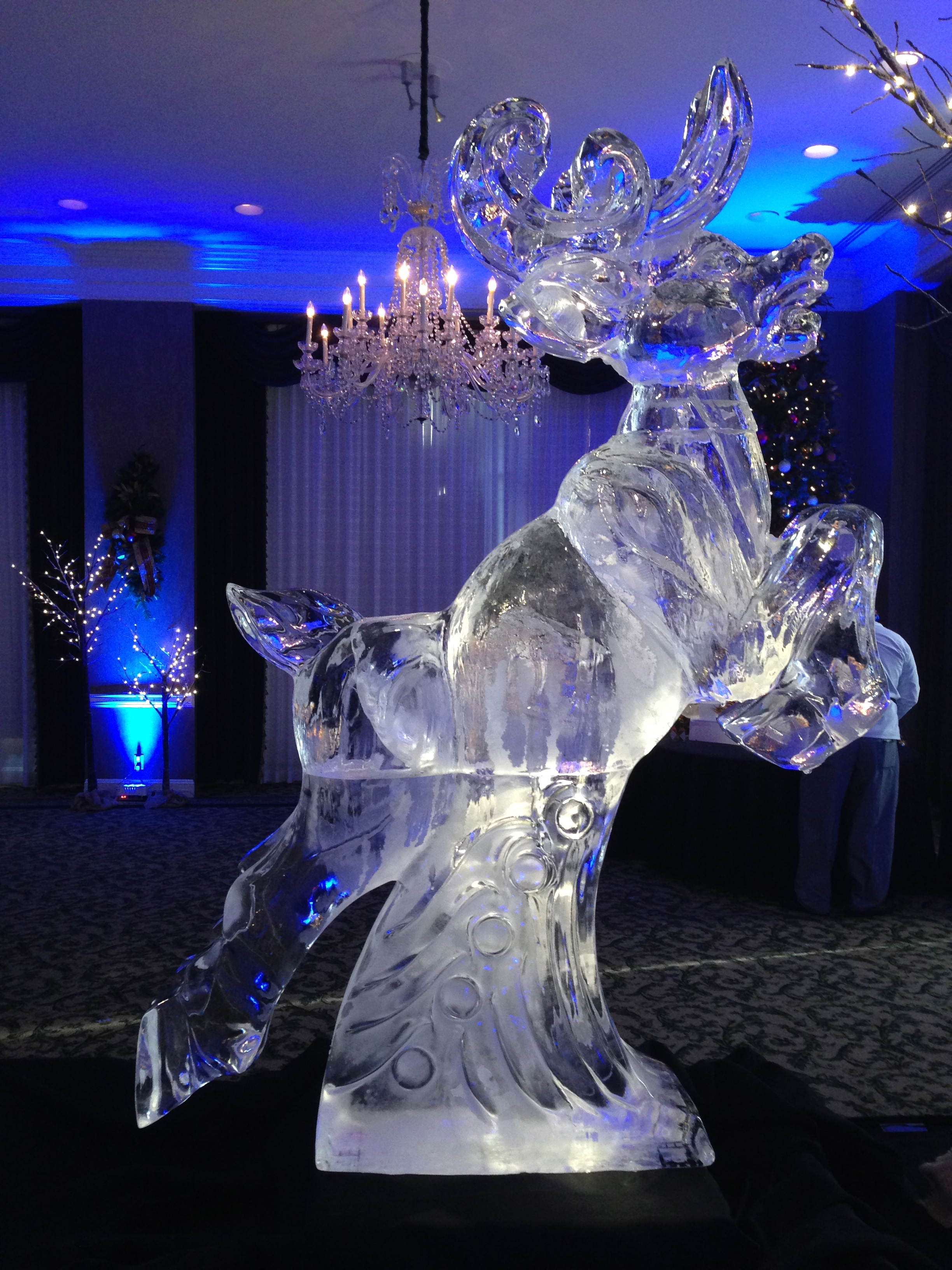 Jumping reindeer ice sculpture