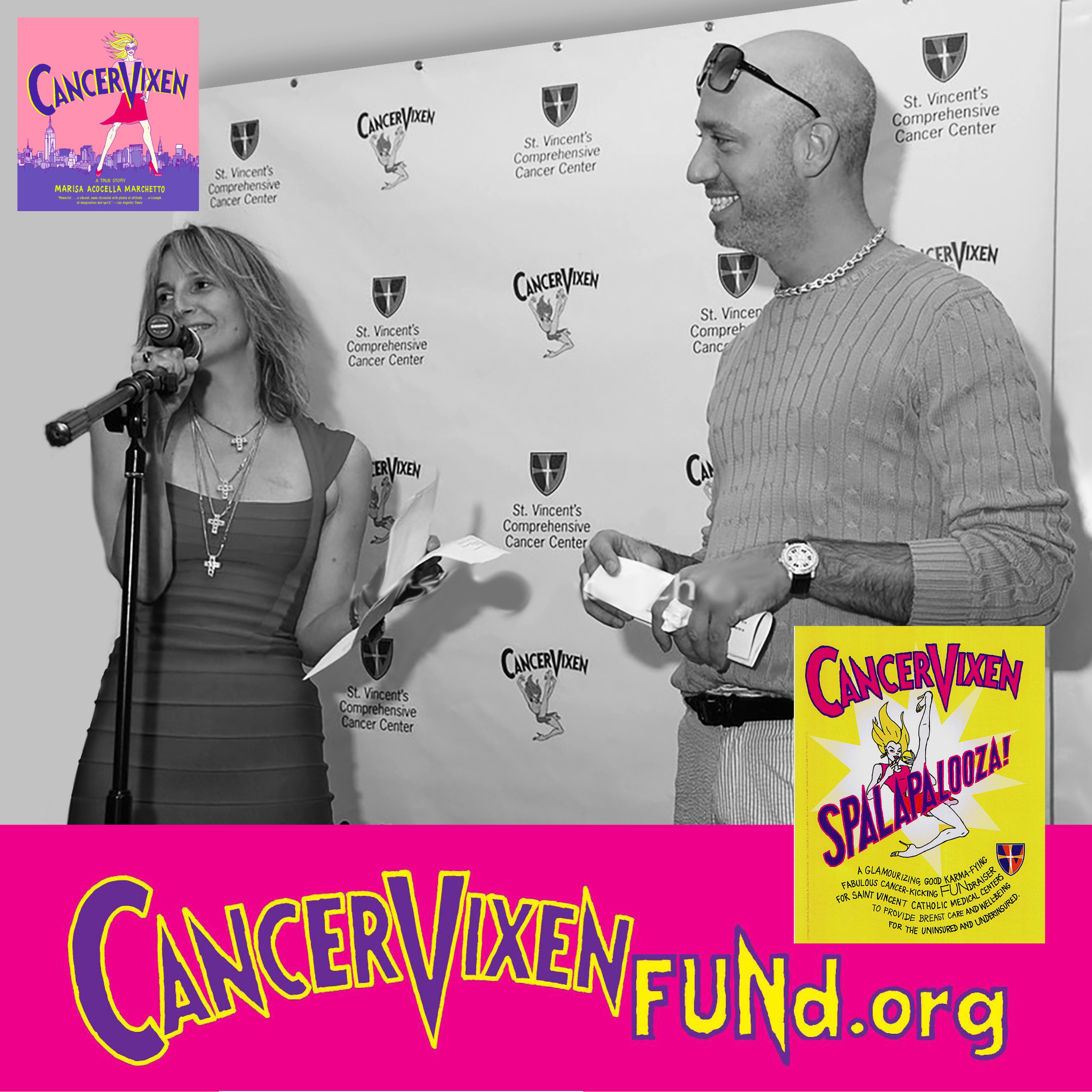 "The Cancer Vixen Fund  -  ""What happens when a shoe-crazy, lipstick-obsessed, wine-swilling, pasta-slurping, fashion-fanatic, about-to-get-married big-city girl cartoonist with a fabulous life finds . . . a lump in her breast?""  The mission of The Marisa Acocella Marchetto Foundation is to EMPOWER uninsured and underinsured women with breast cancer and breast cancer survivors to receive the best possible care for the best possible outcome without being concerned about the financial ramifications. Robert Verdi is proud to help support services from screenings to holistic care to new methods of empowerment.    http://marisaacocellamarchettofoundation.org/"