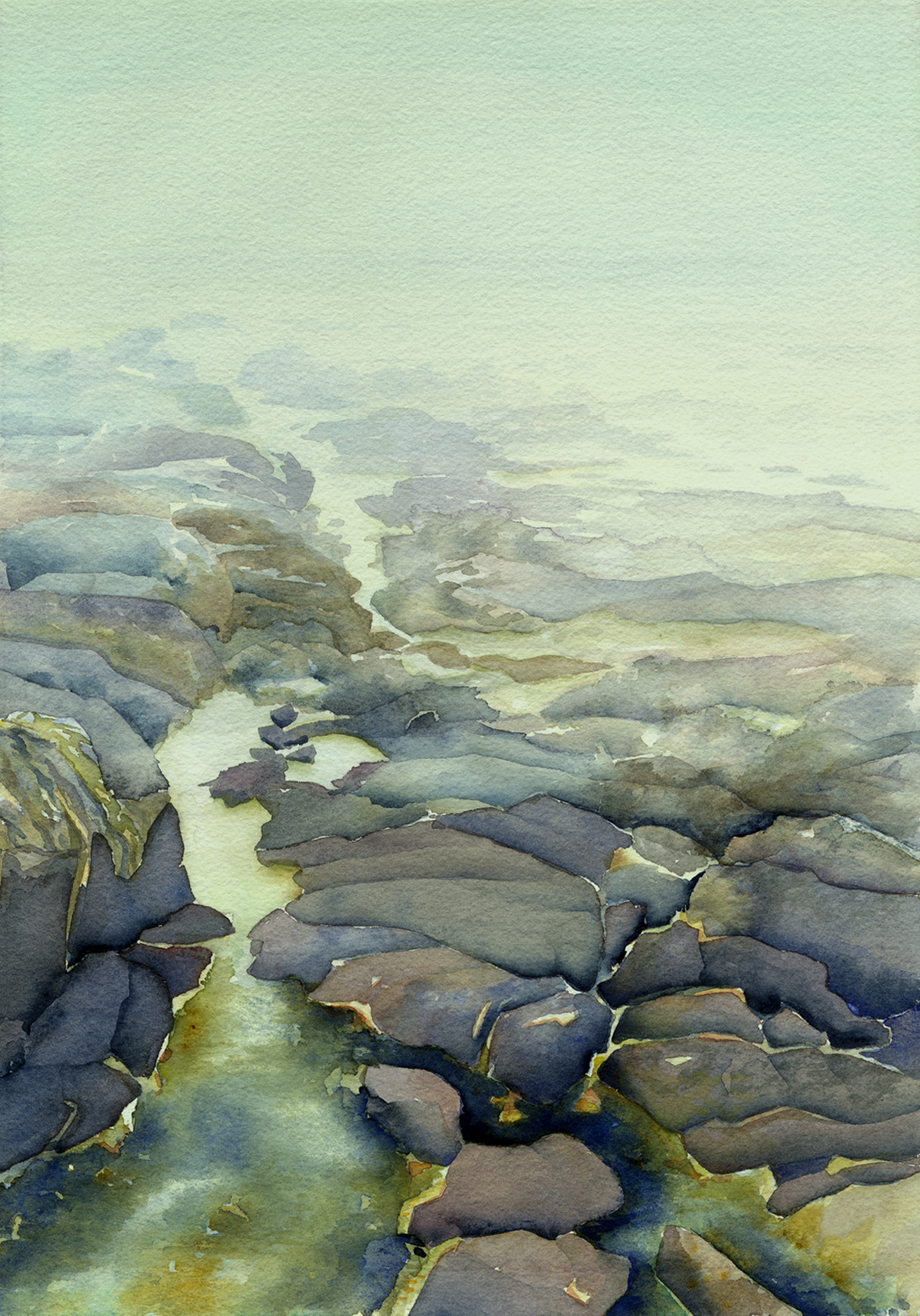 "Low Tide 11.25"" x 8.5"" Sold; Giclée prints available"
