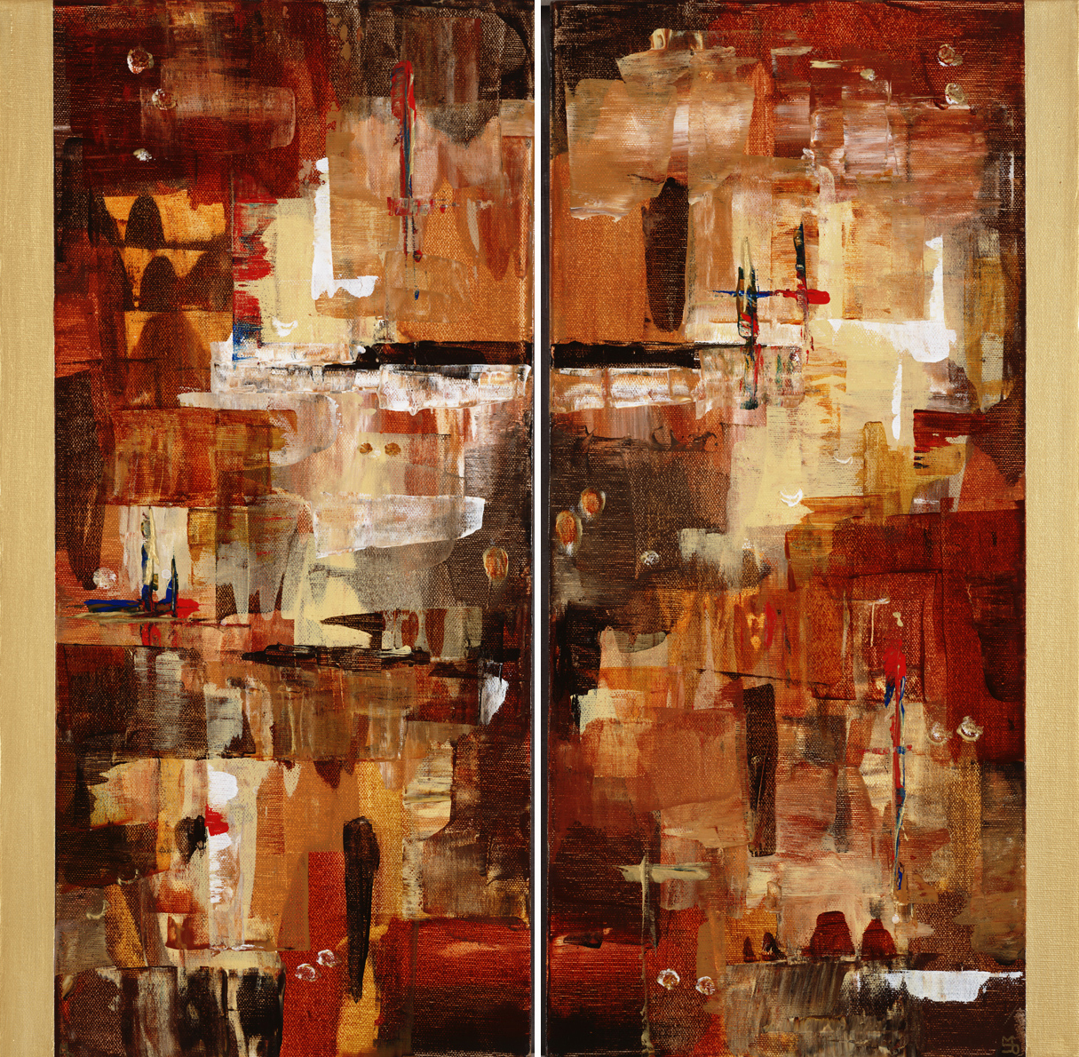 """City Life Diptych 20"""" x 20"""" Sold; Giclée prints available"""
