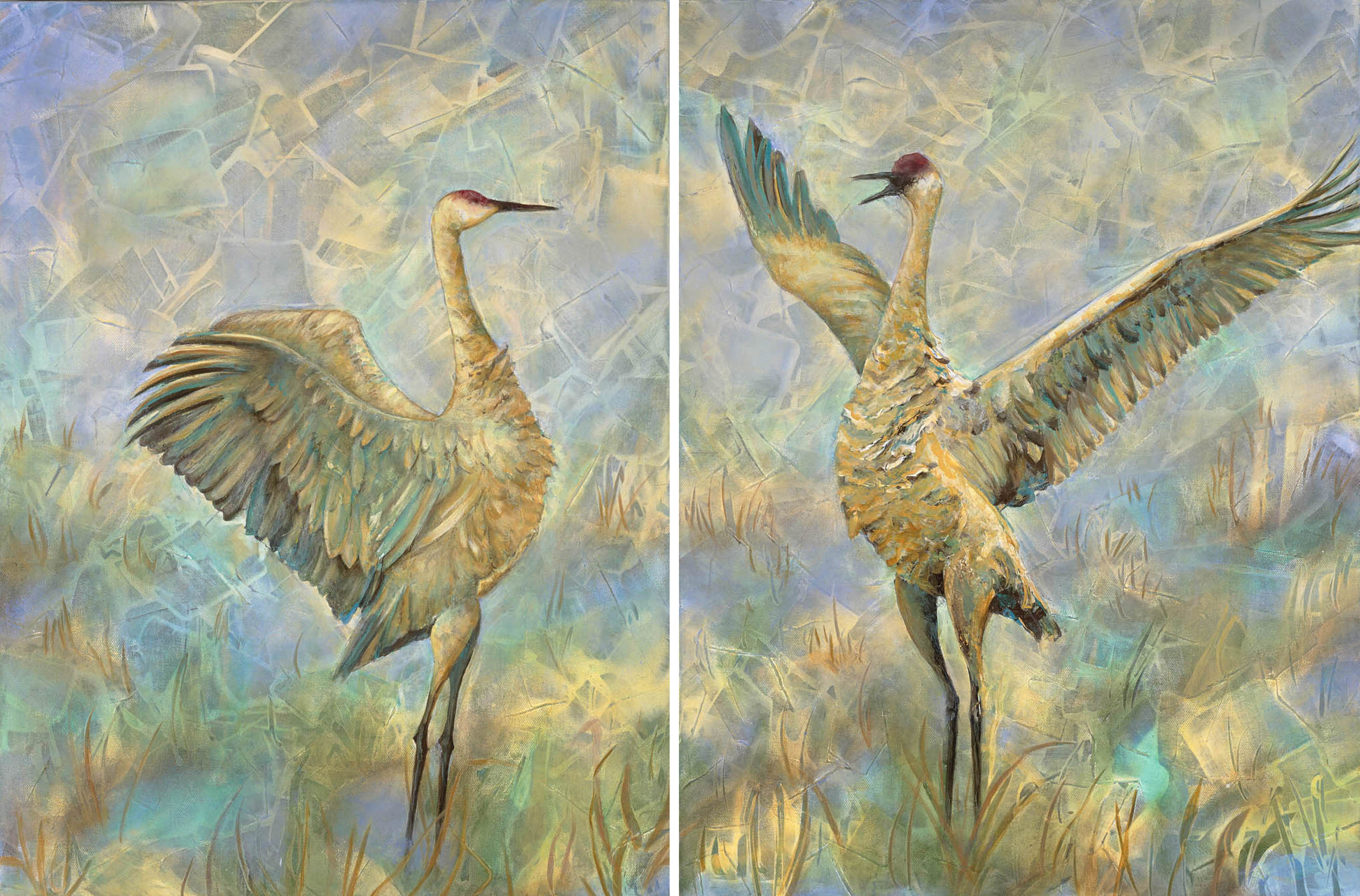 "He Said, She Said 18"" x 36"" Sold; Giclée prints available (separately or as diptych)"