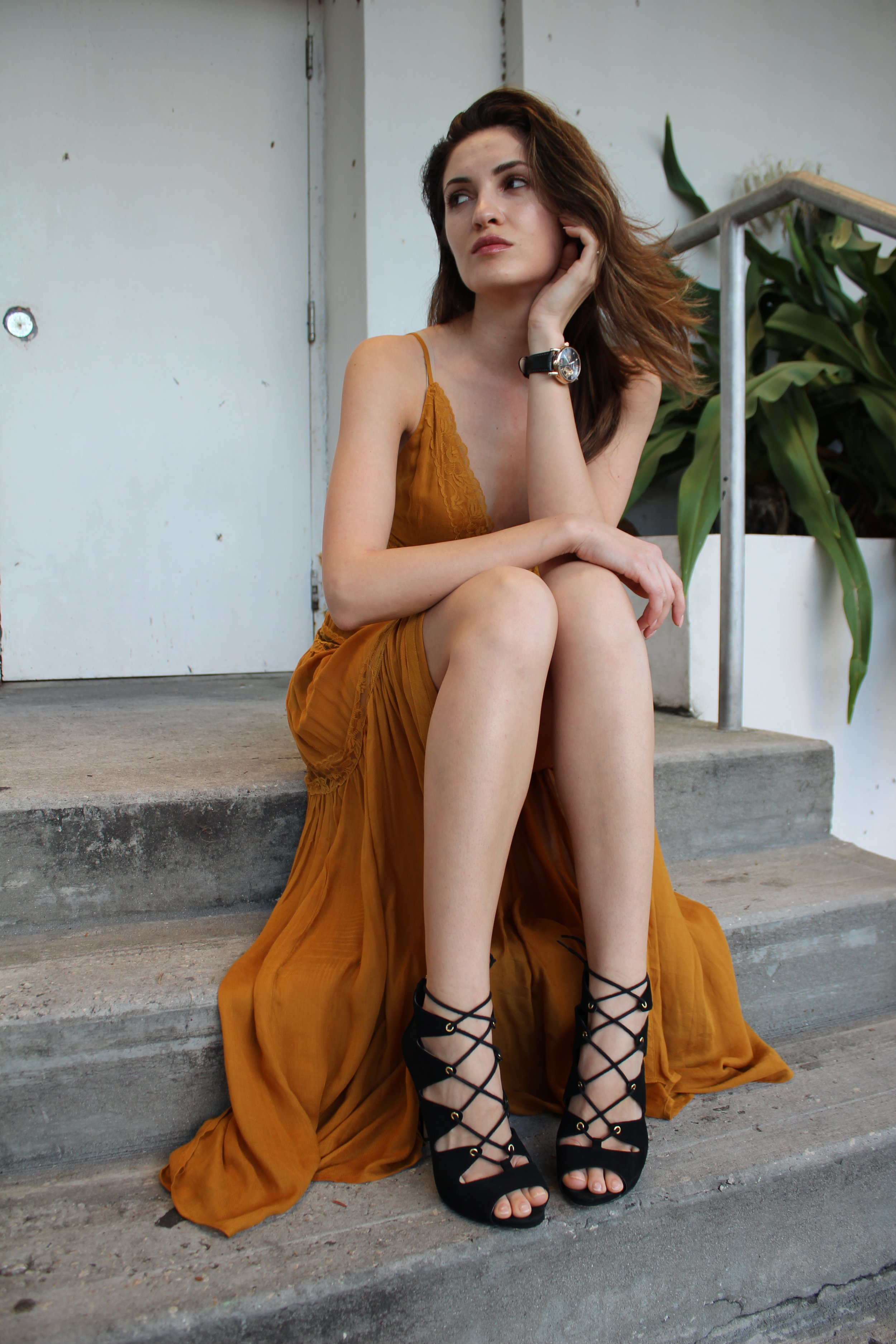 Outdoor evening gown fashion photo