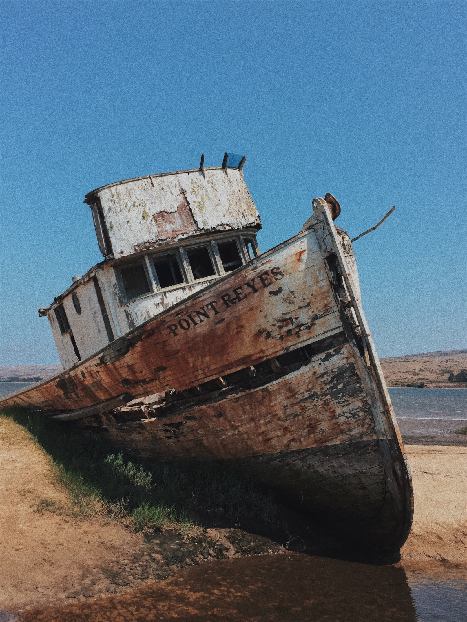 Rotten old ship at bay in Point Reyes
