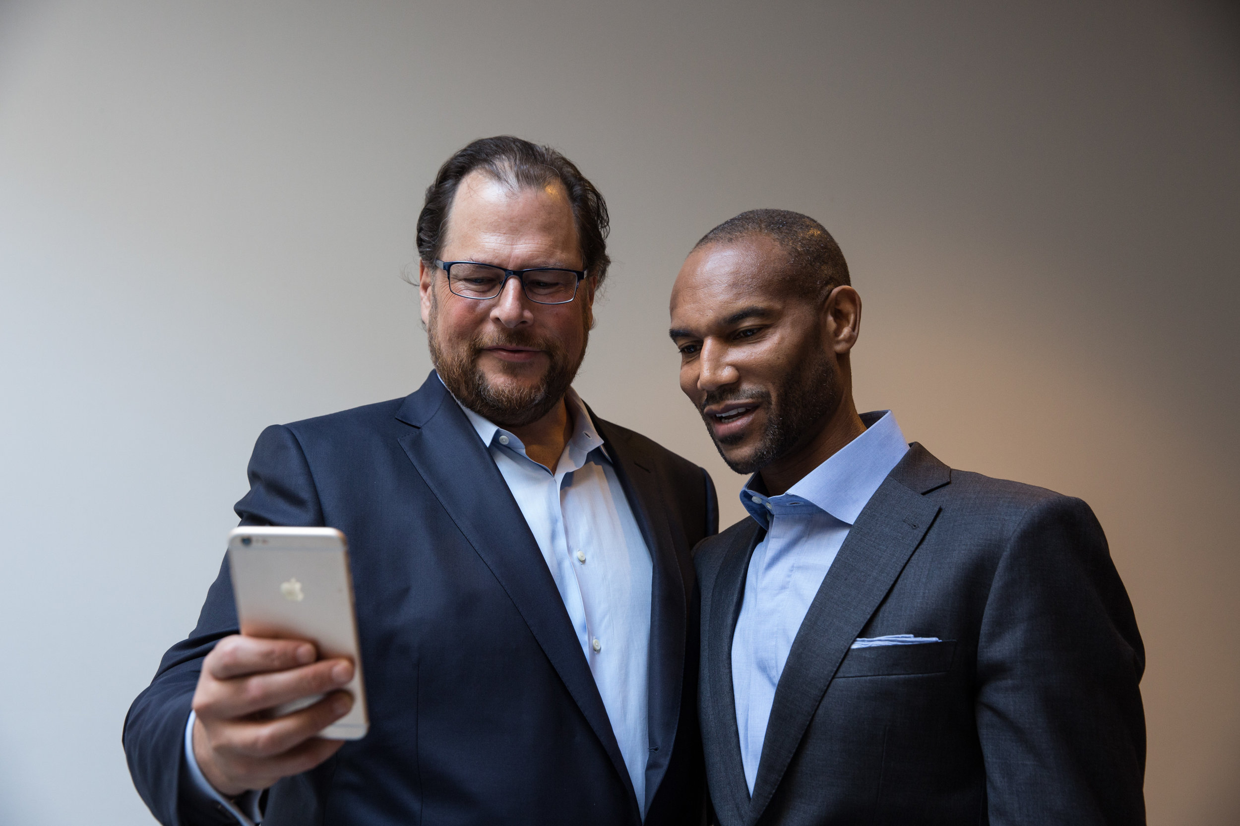 Salesforce CEO Marc Benioff and Prophet snapping a selfie together.  Courtesy of Salesforce.