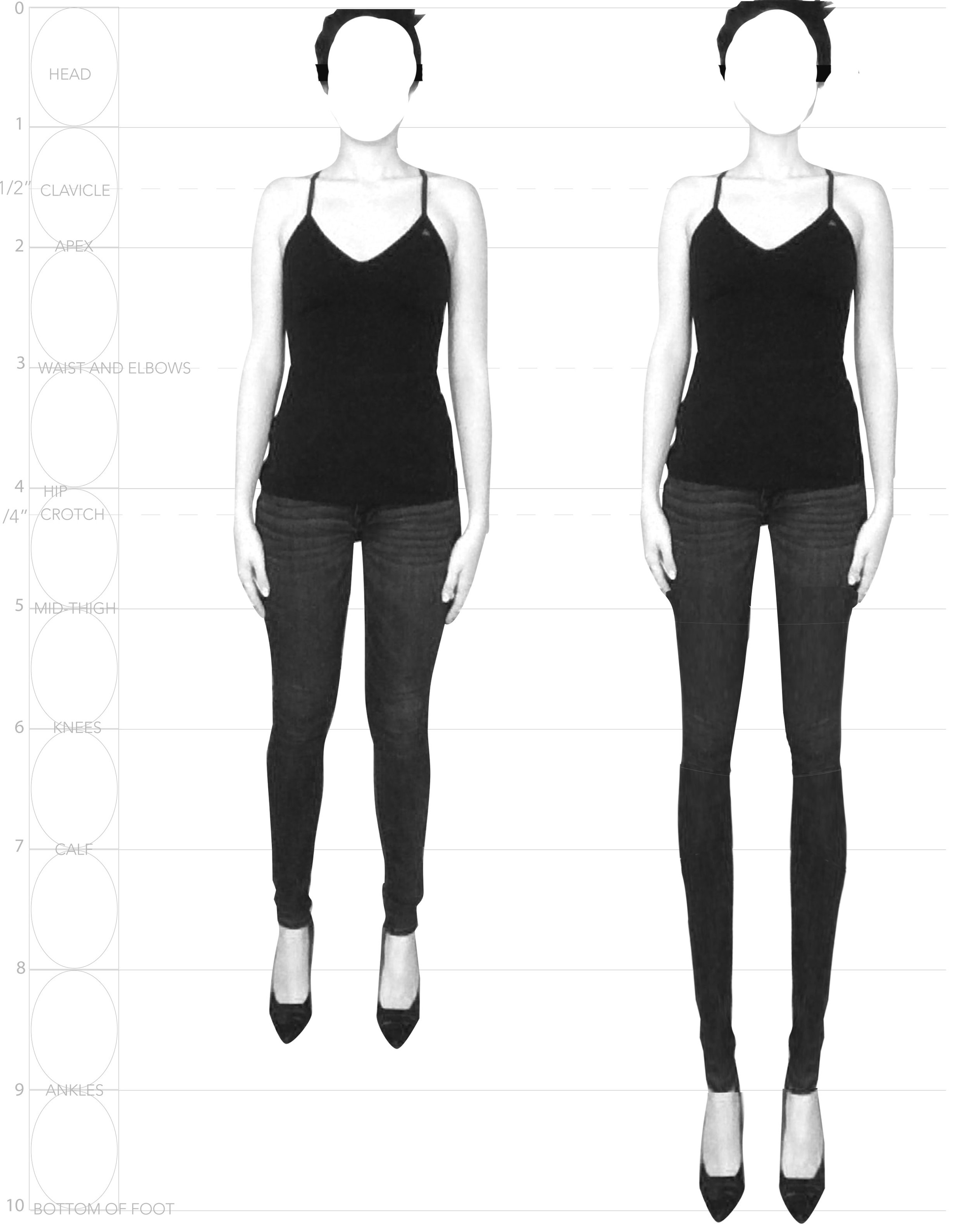 The above image illustrates the difference between a realistic body (left) and a fashion croquis with 9 heads proportion (right)