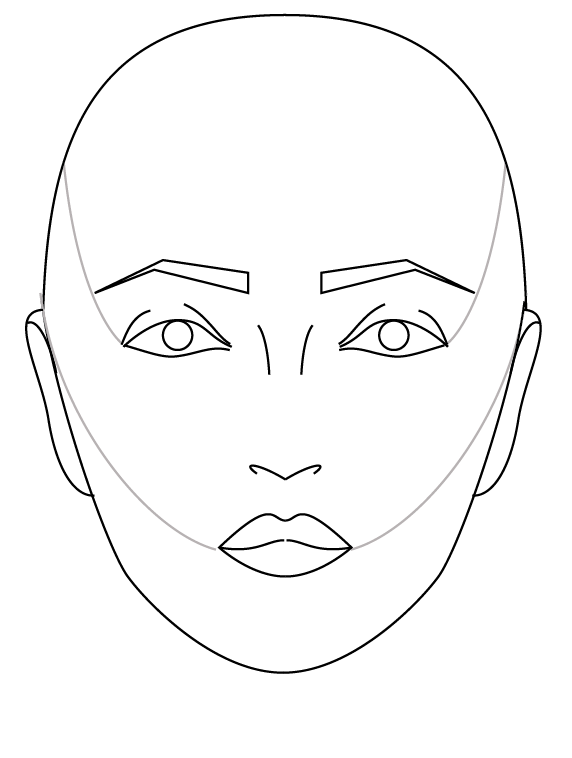 1:  Lightly mark contour line from skull to eye corner and from ear to lip corner