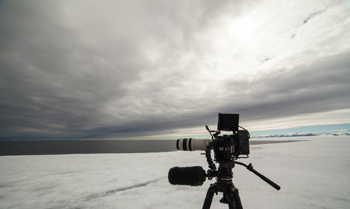 Filming out next to the edge of the ice.