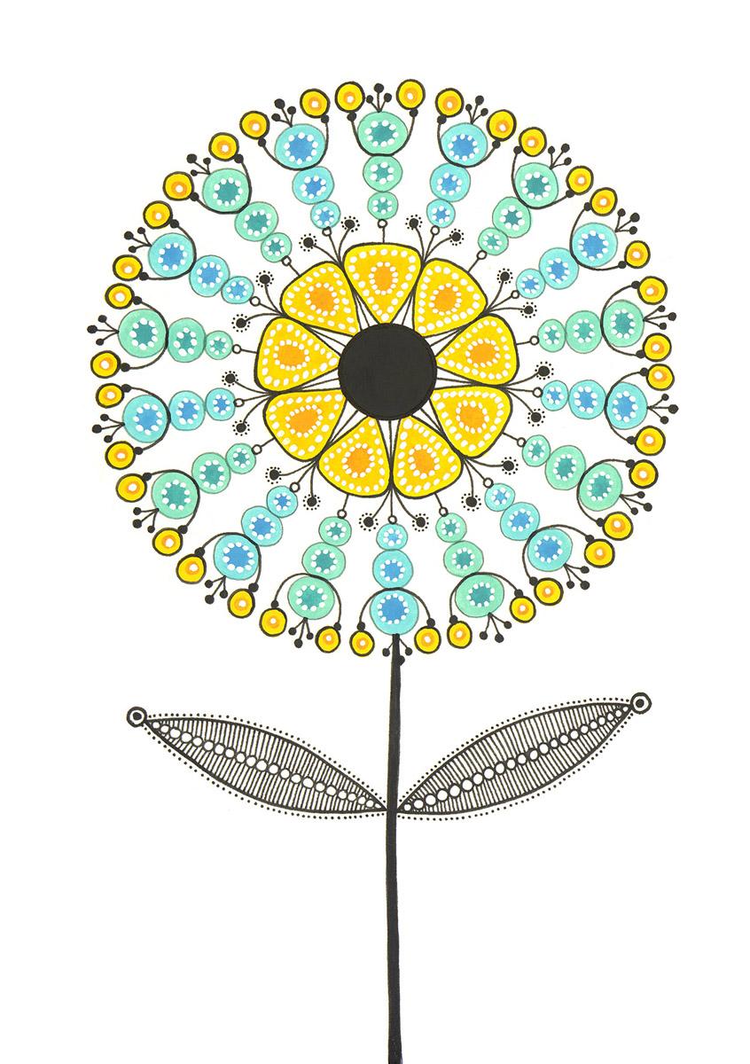 Blumengarten illustration 'Aster Blau'
