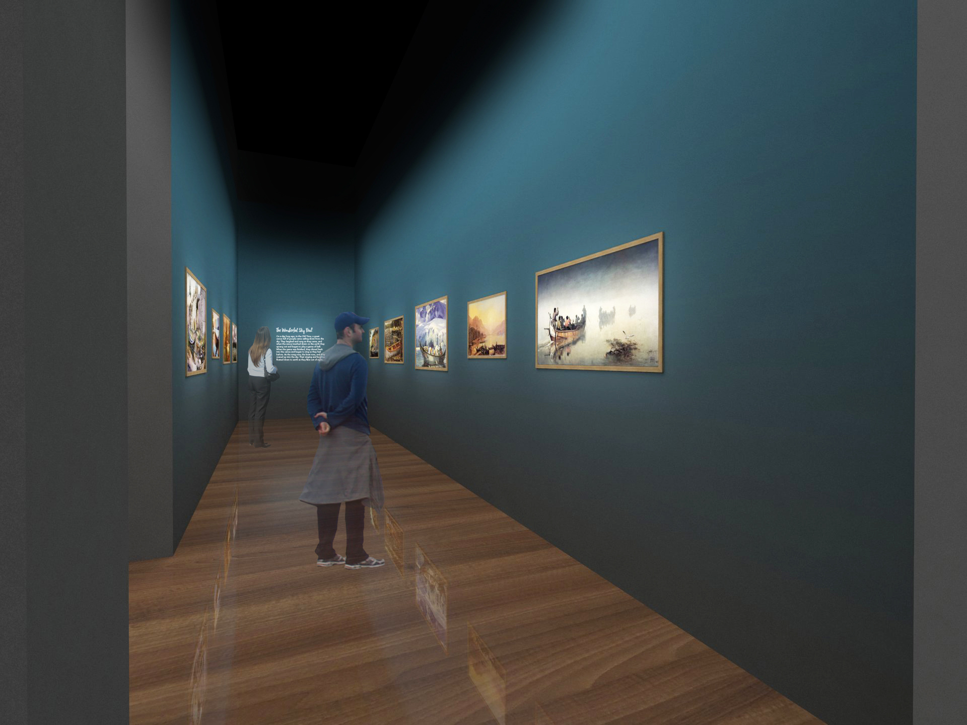 Visitors see artworks and poem about Native American boats.