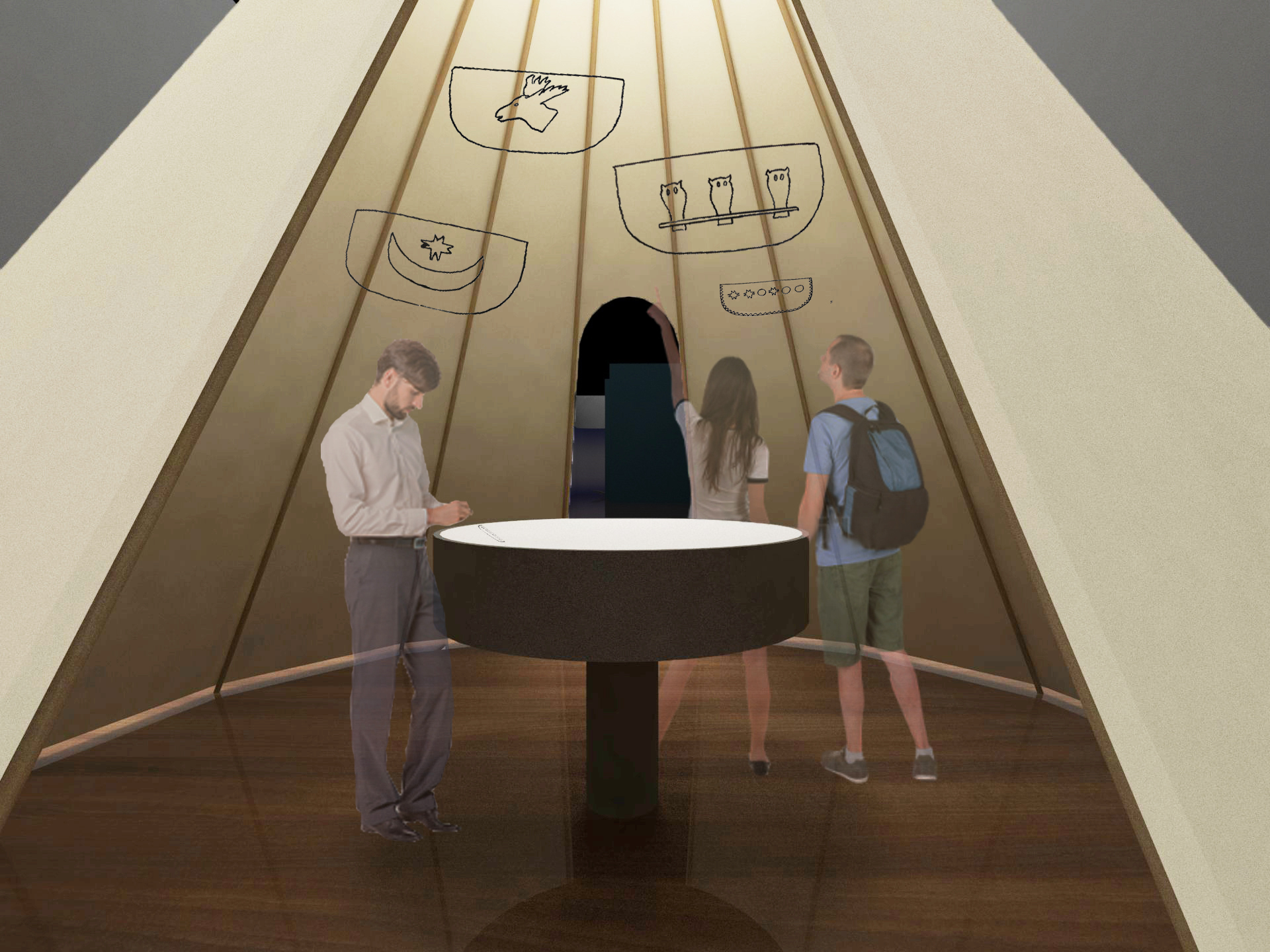 Visitors walk into a fabric hut. On the round interactive kiosk, they can draw their own symbol to decorate the digital boat head. The personal symbols get projected on the surface of hut interior.