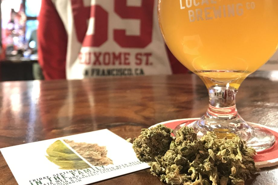 To Brew Dank, Resinous Beer, Local Brewers Turn to Pot:  And it's generating a buzz — without actually getting anyone high    California breweries testing the boundaries of beer are turning to pot, but not in an effort to get their customers crossfaded (that heady mix of high and drunk). Instead, brewers like San Francisco's Local Brewing Co. are incorporating marijuana's pungent aroma — without its psychoactive properties — into their beer through cannabis terpenes.